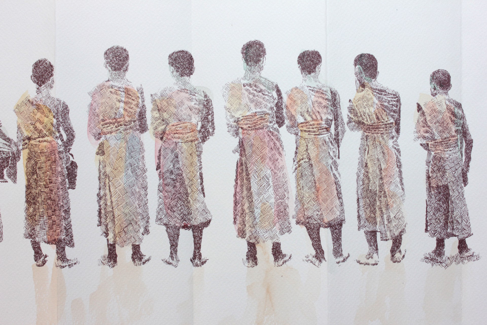 Alms Giving Procession: Print Series II by Tiao Nithakhong Somsanith