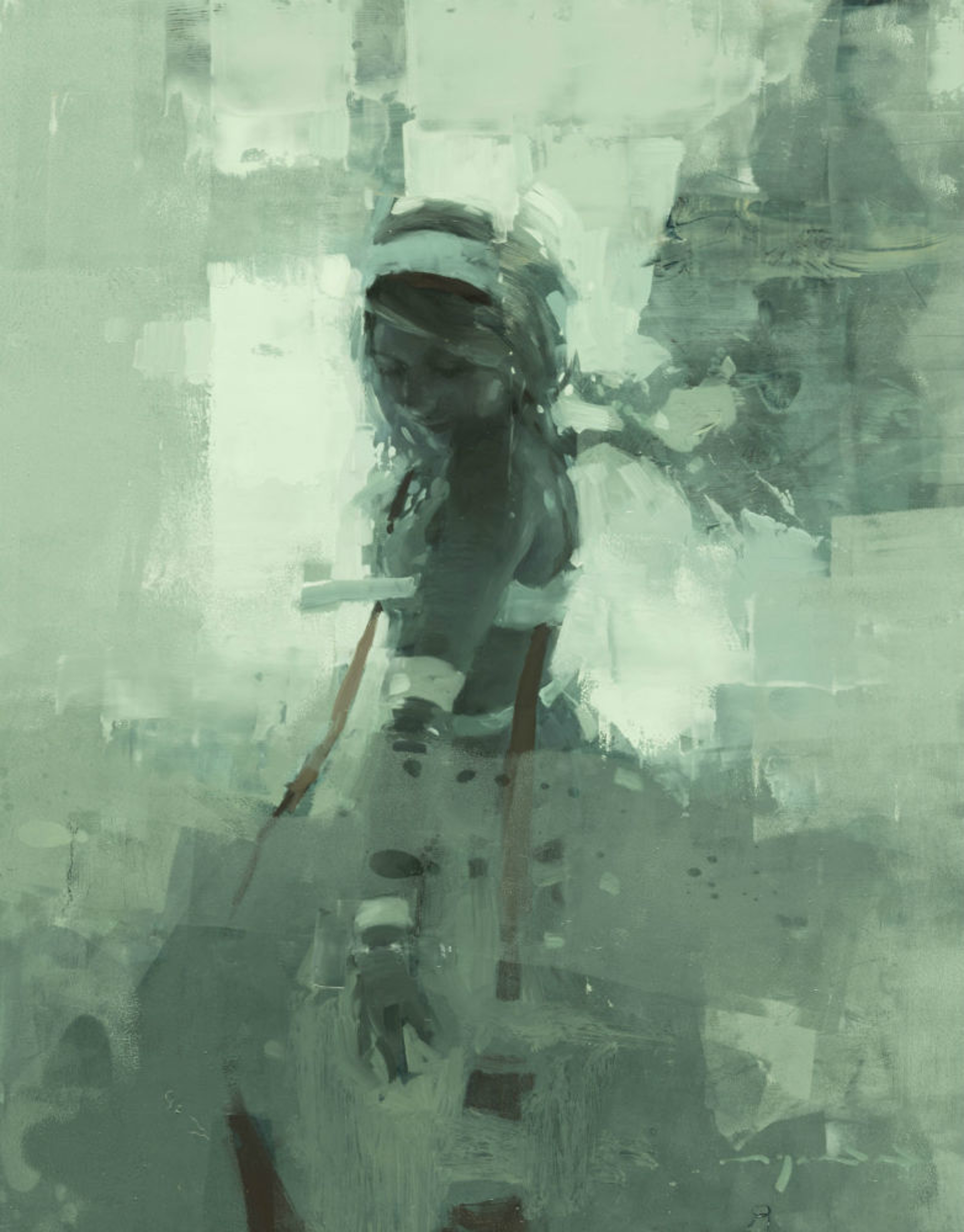 Note in Pale Green No. 7 by Jeremy Mann