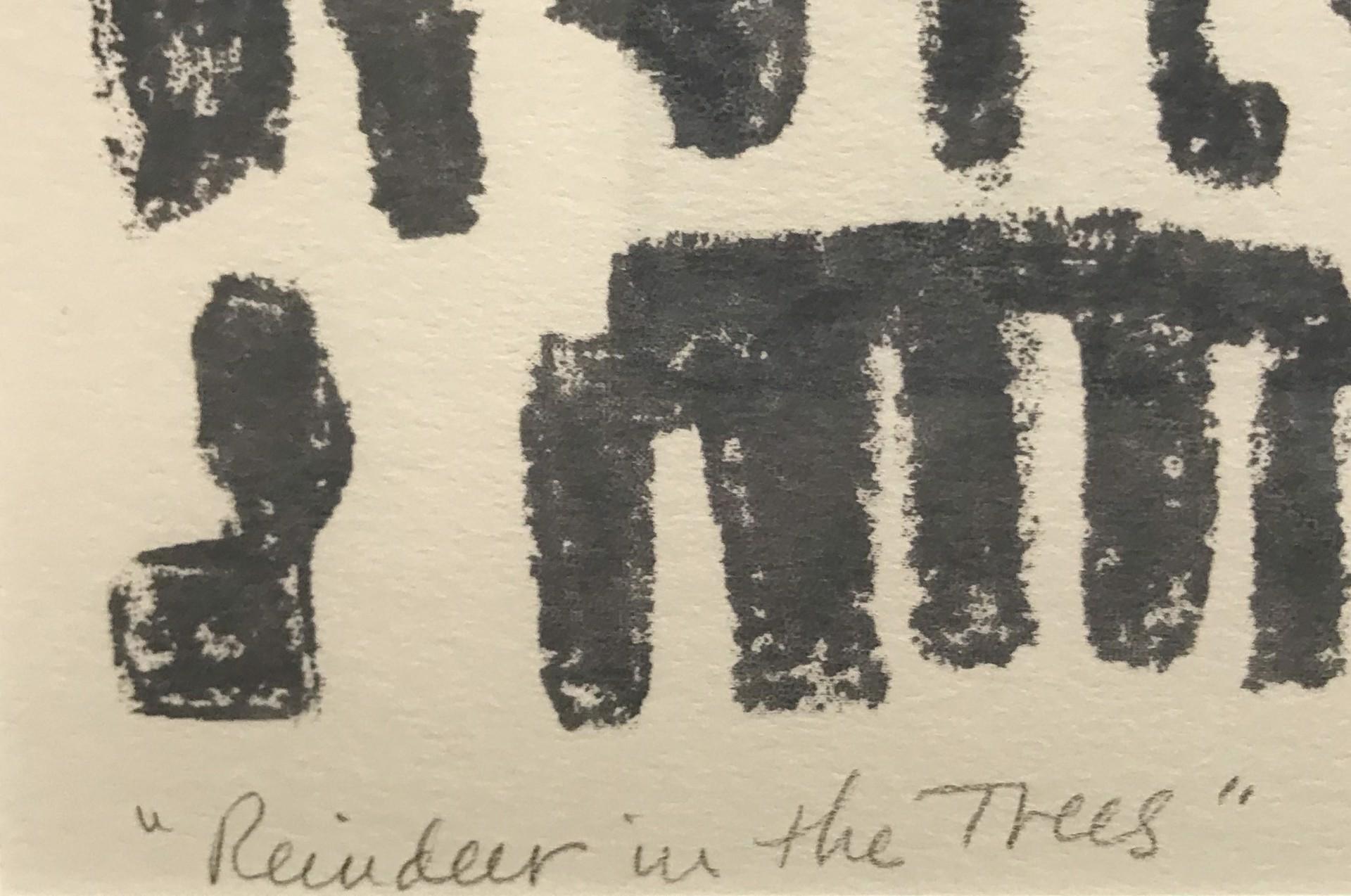 Reindeer in the Trees (grey) by Stella Sullivan Prints
