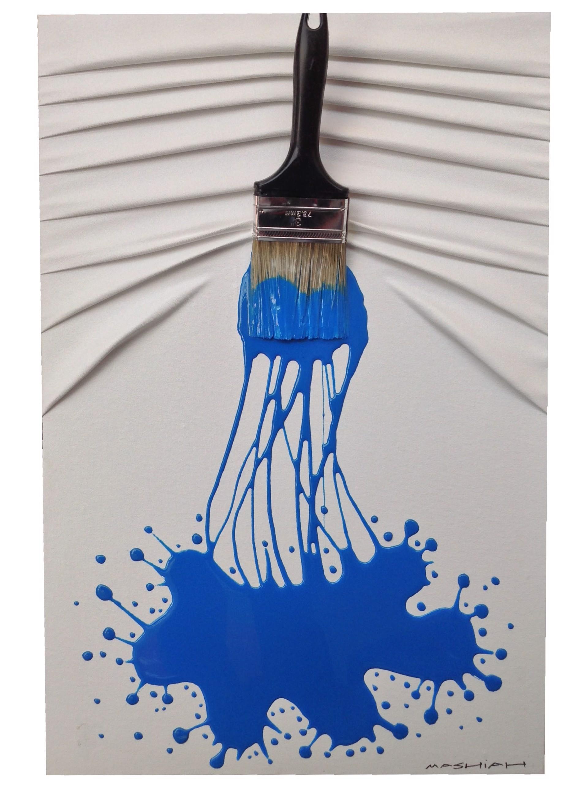 """Lets Paint"" Small Blue on White by Efi Mashiah"