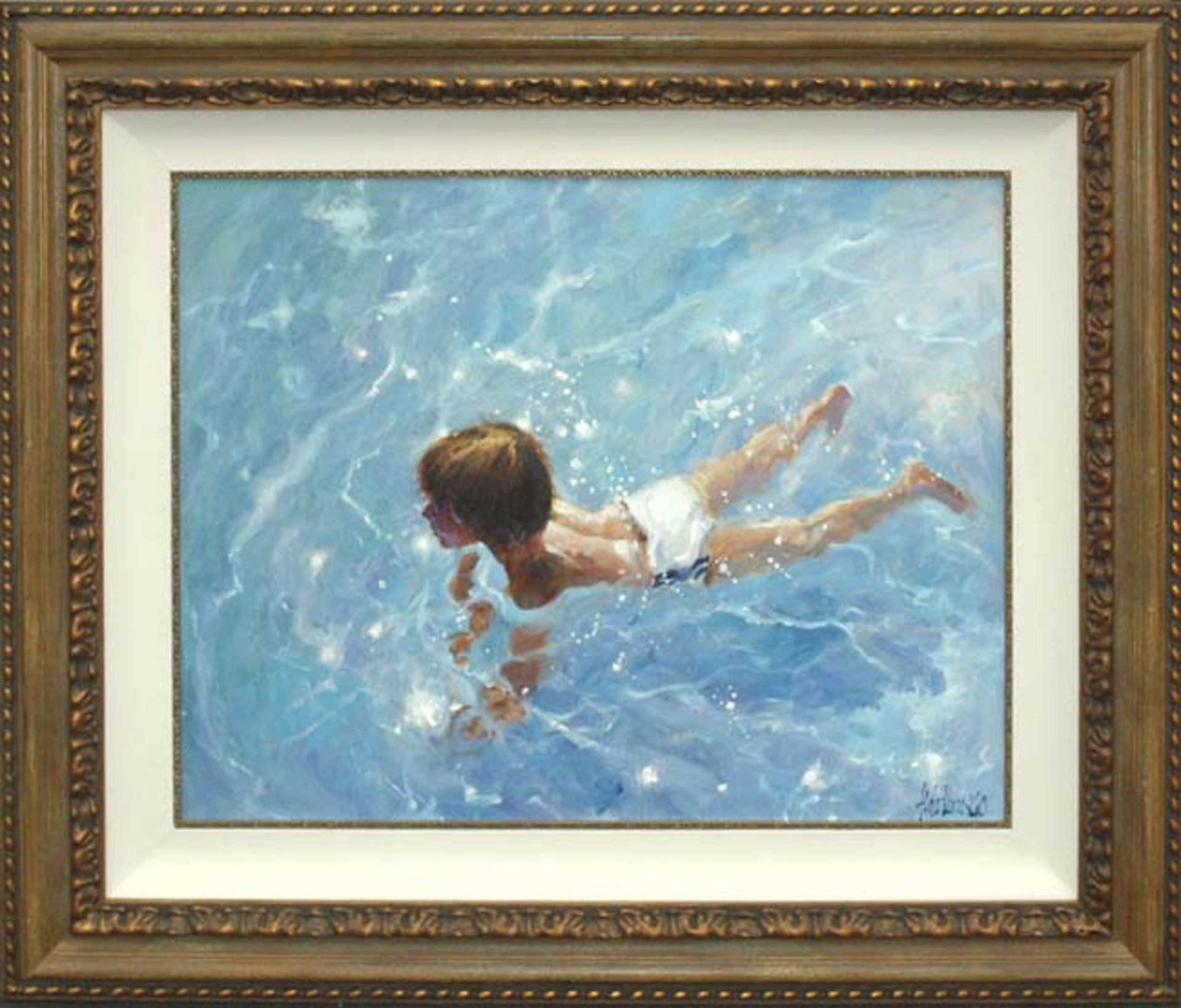 Boy In Crystal Waters by Aldo Luongo