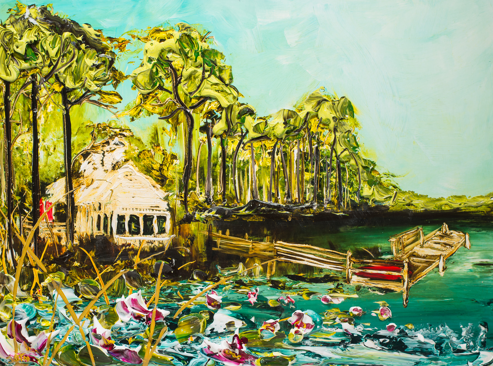 WATERCOLOR BOATHOUSE HPAE 6/50 by JUSTIN GAFFREY