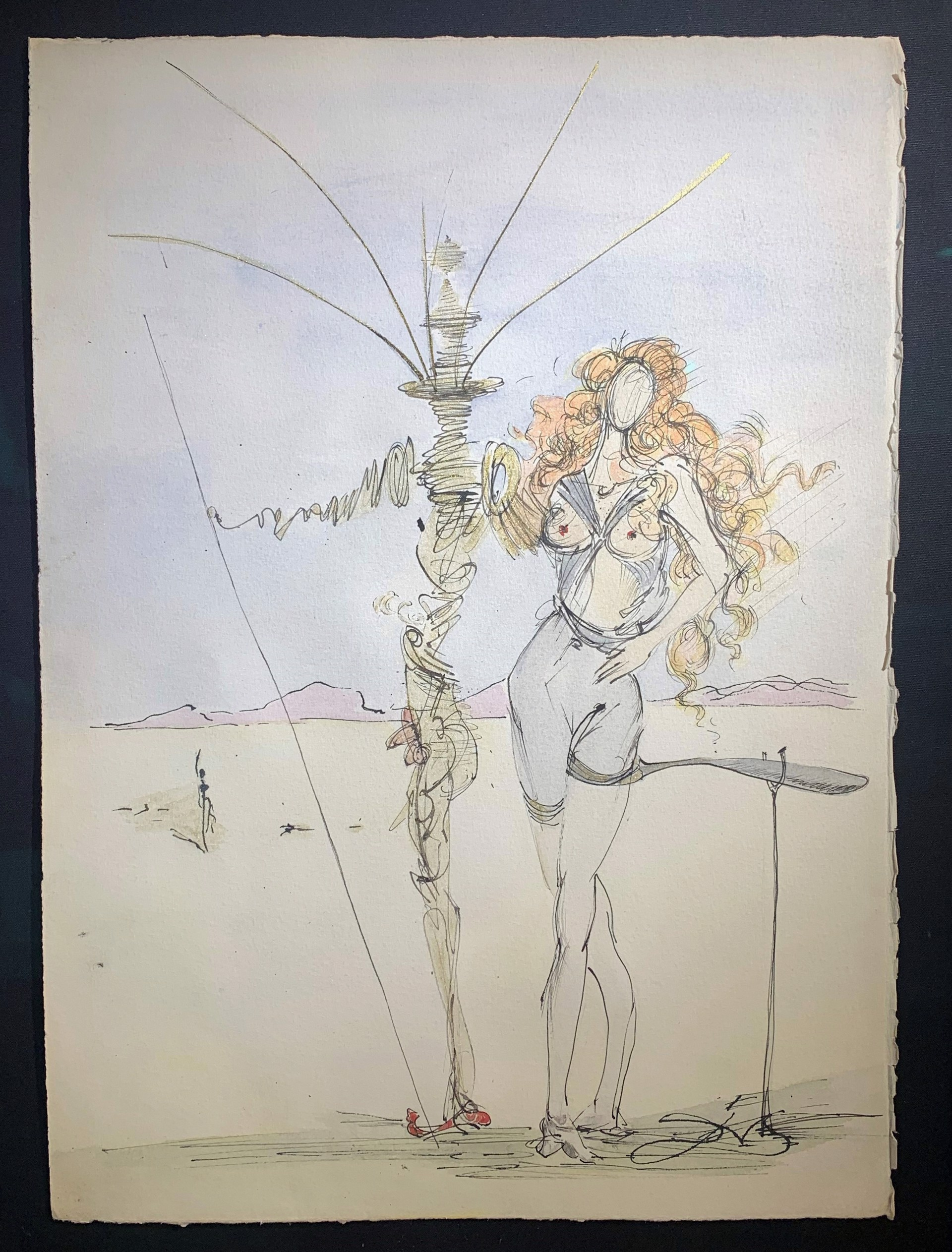 Salvador Dali La Femme aux Cheveux d'or et son Garde ink and watercolor with surrealist figures in center of composition