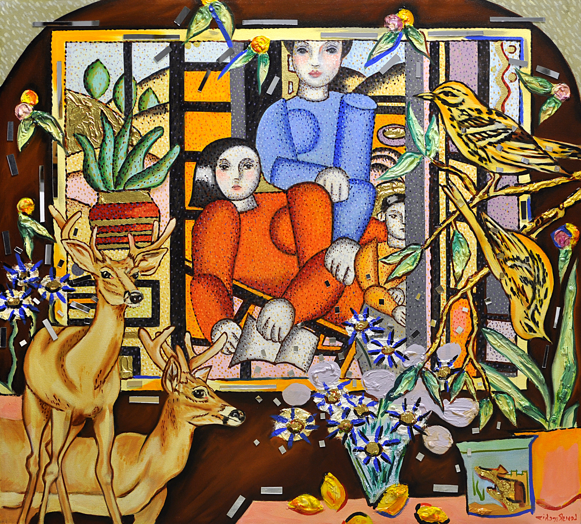 Interior with Leger Family by Louis Recchia