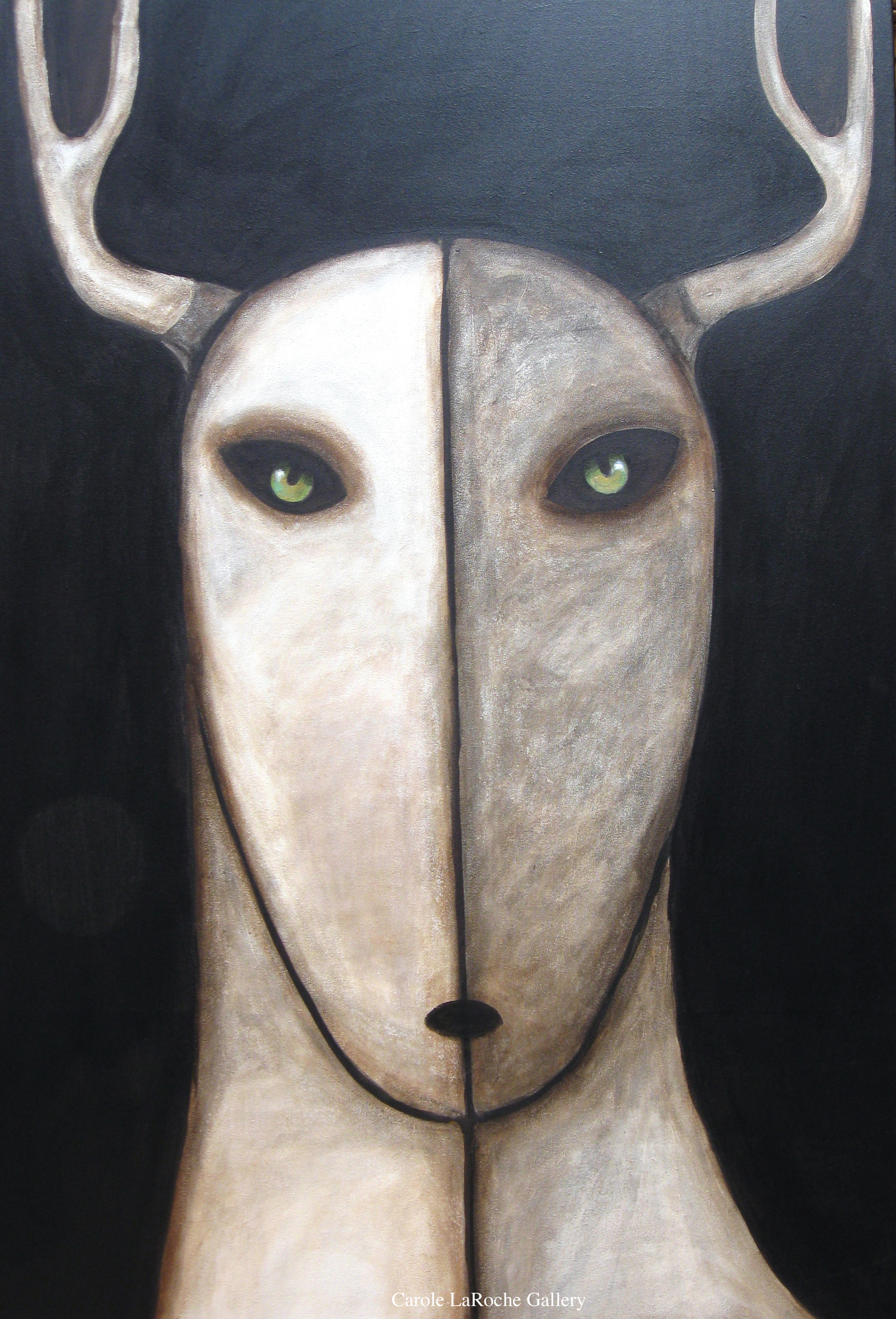 """NIGHT SKY/WHITE STAG - limited edition giclee on canvas 60""""x40""""   by Carole LaRoche"""
