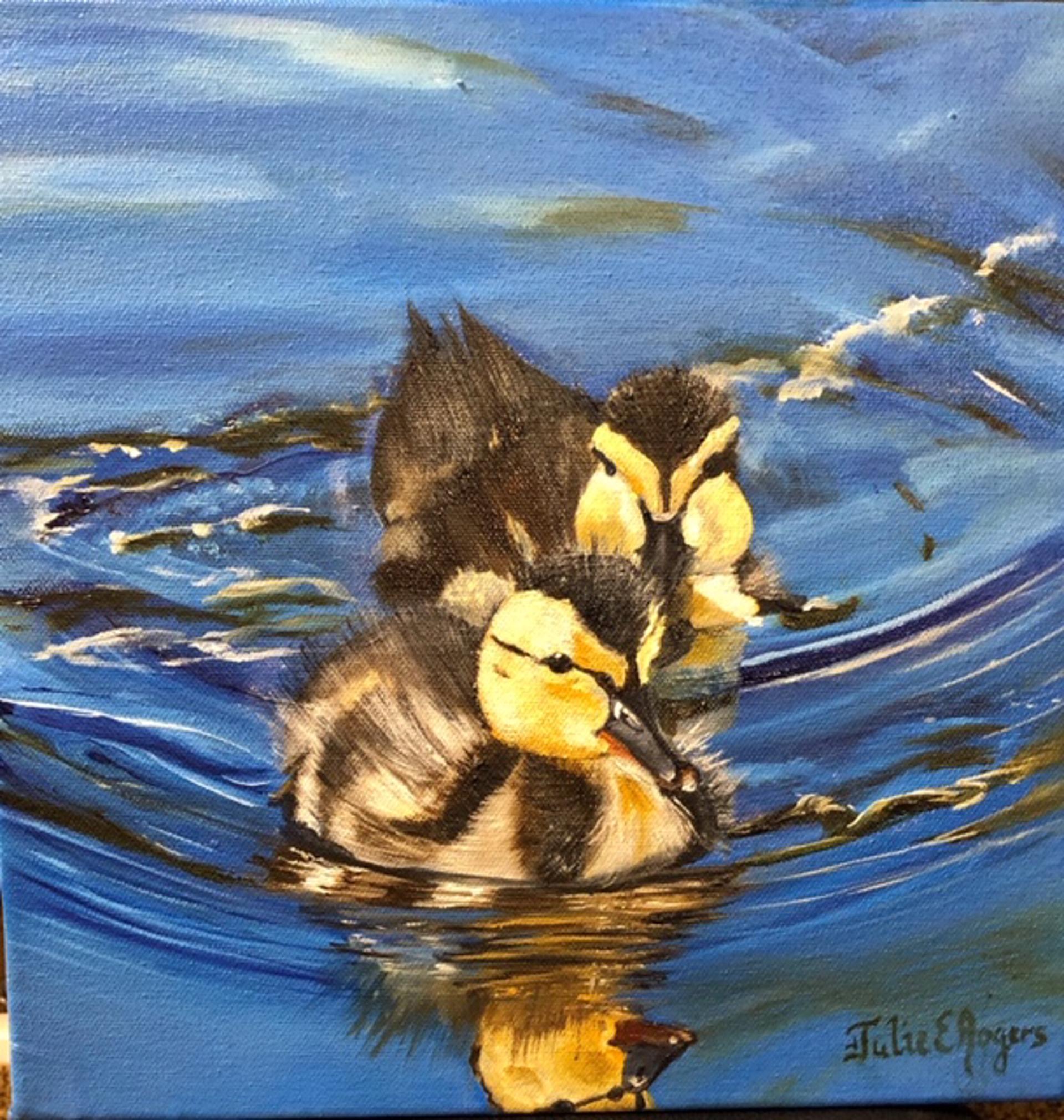 Ducks Work in Progress by Julie Rogers