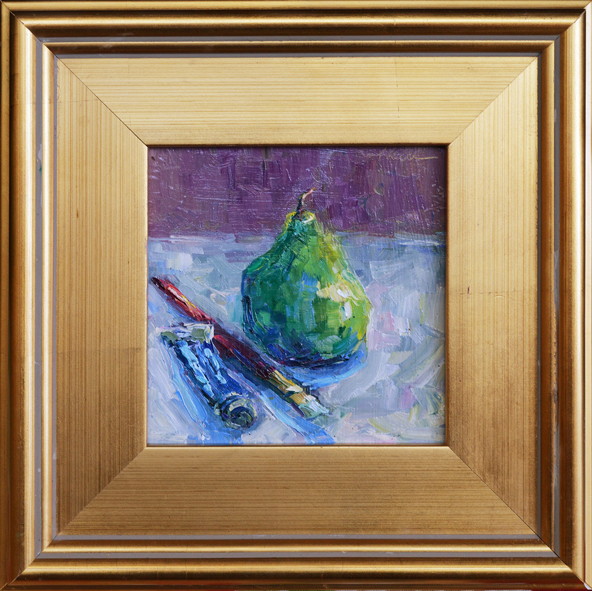 Kings Blue with Pear and Brush by Karen Hewitt Hagan