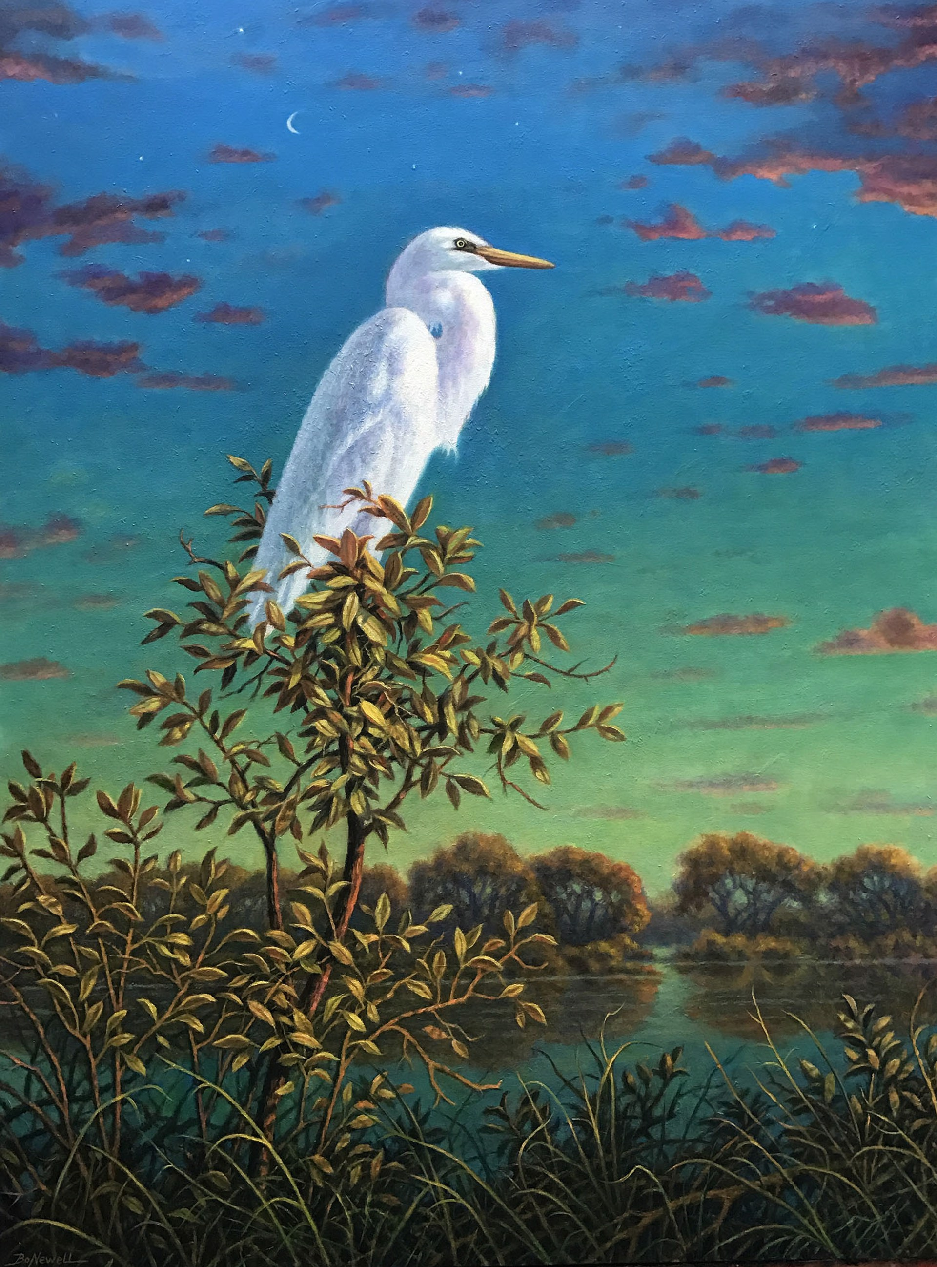 White Egret with Crescent Moon by Bo Newell