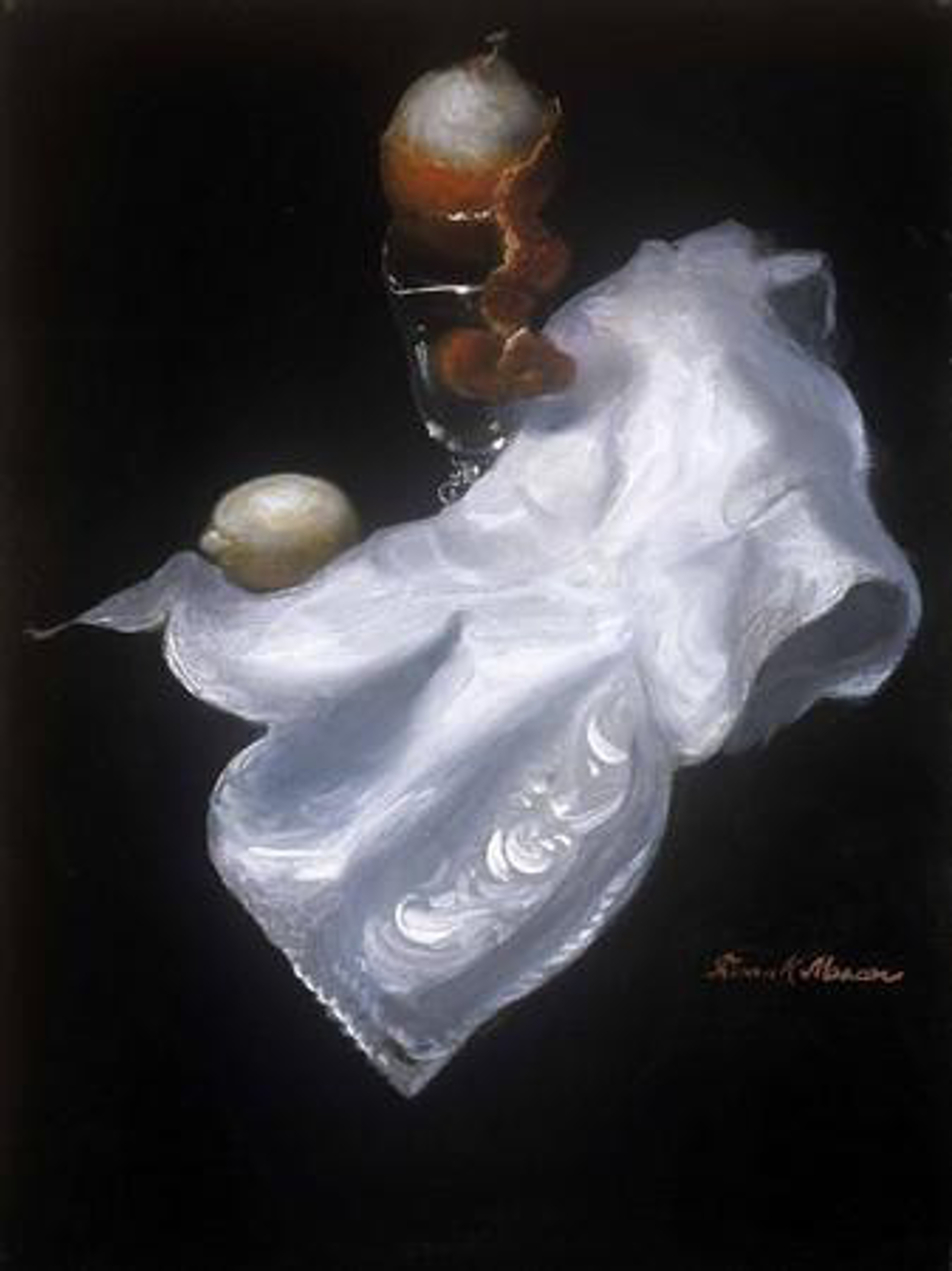 White Napkin with Orange by Frank Mason (1921 - 2009)