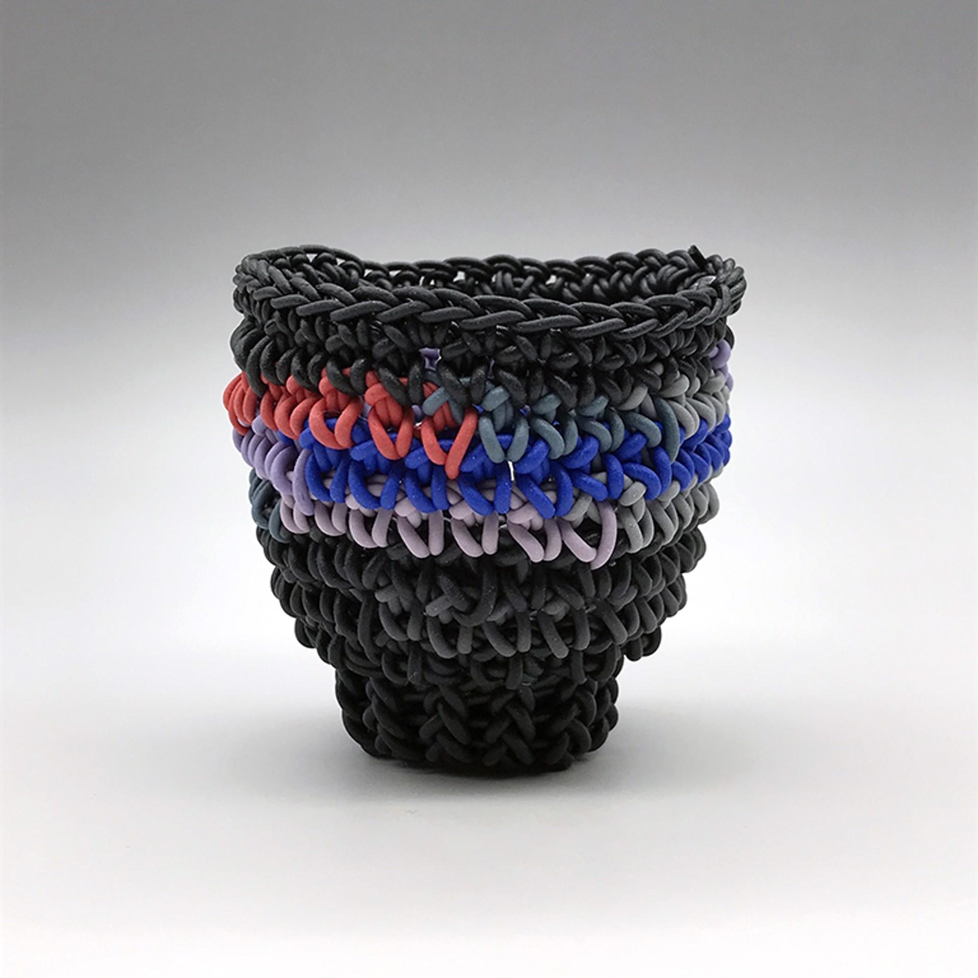 Tea Bowl (Black w/Blue, Denim, Red & Lavender Rows) by Jeremy Brooks