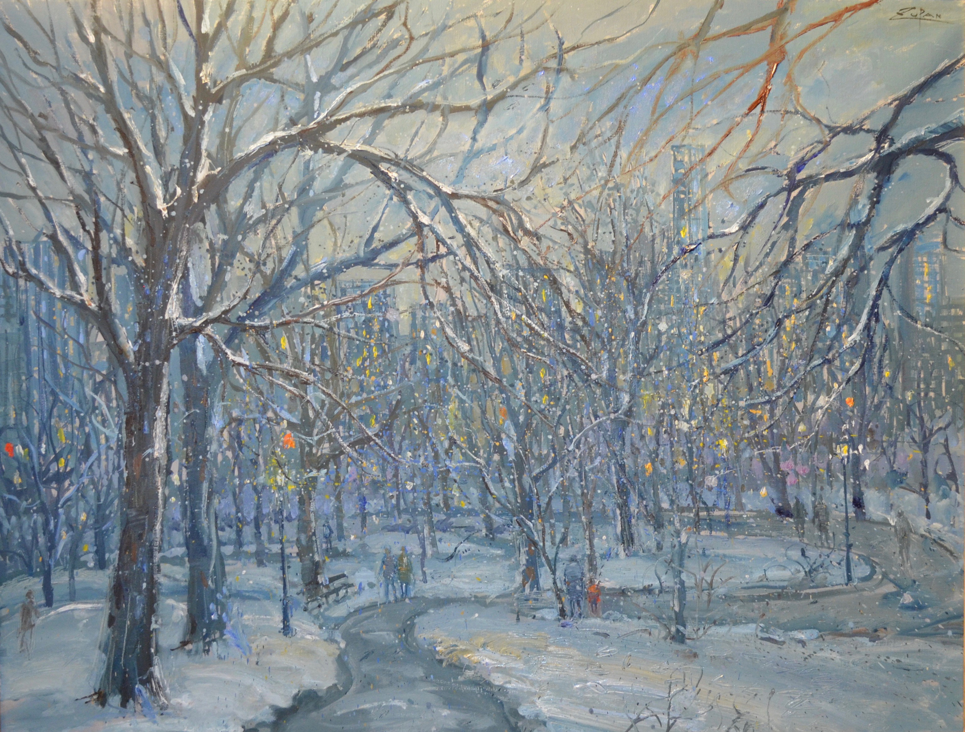 Path Through Central Park in the Snow by Bruno Zupan