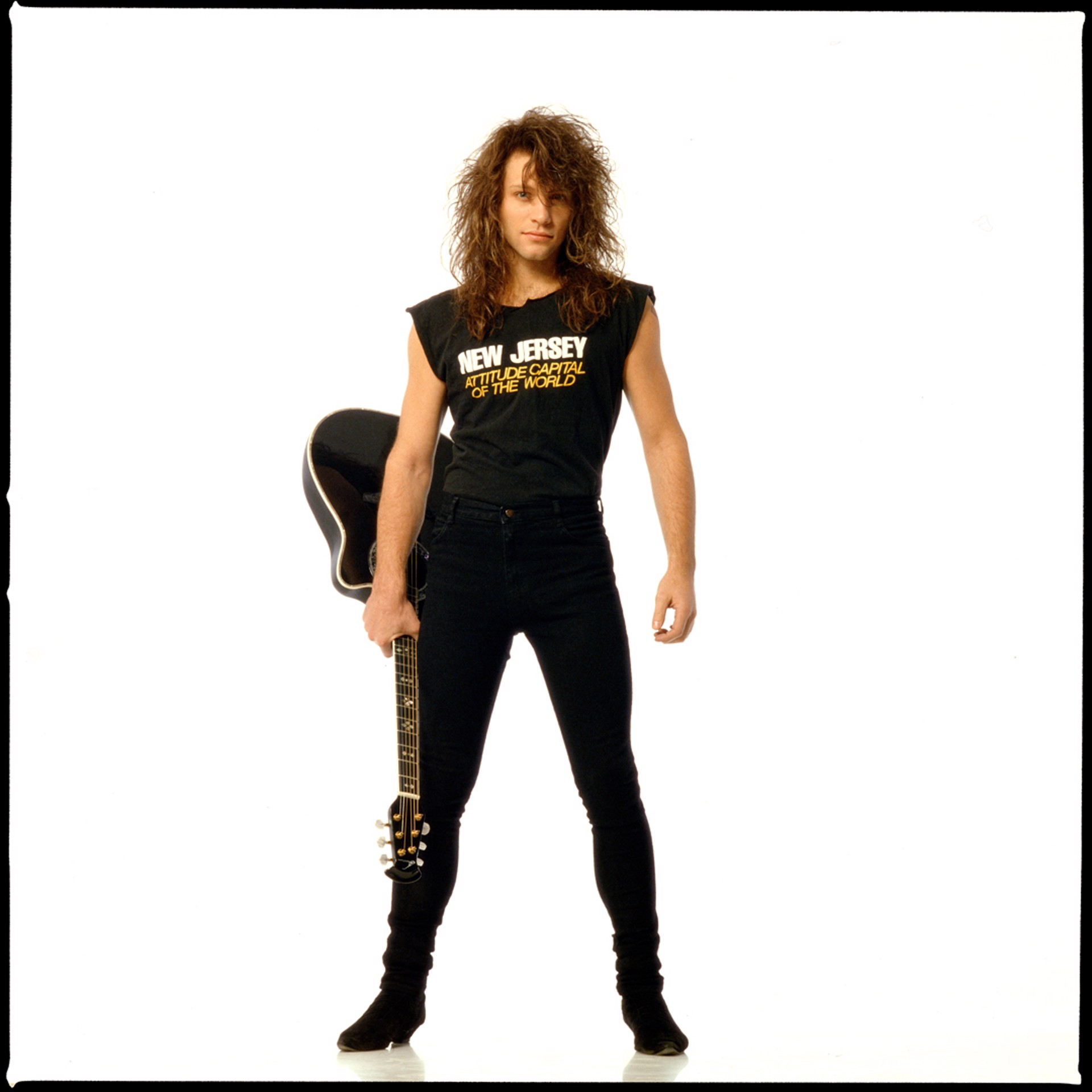 88215 Jon Bon Jovi On White Color by Timothy White