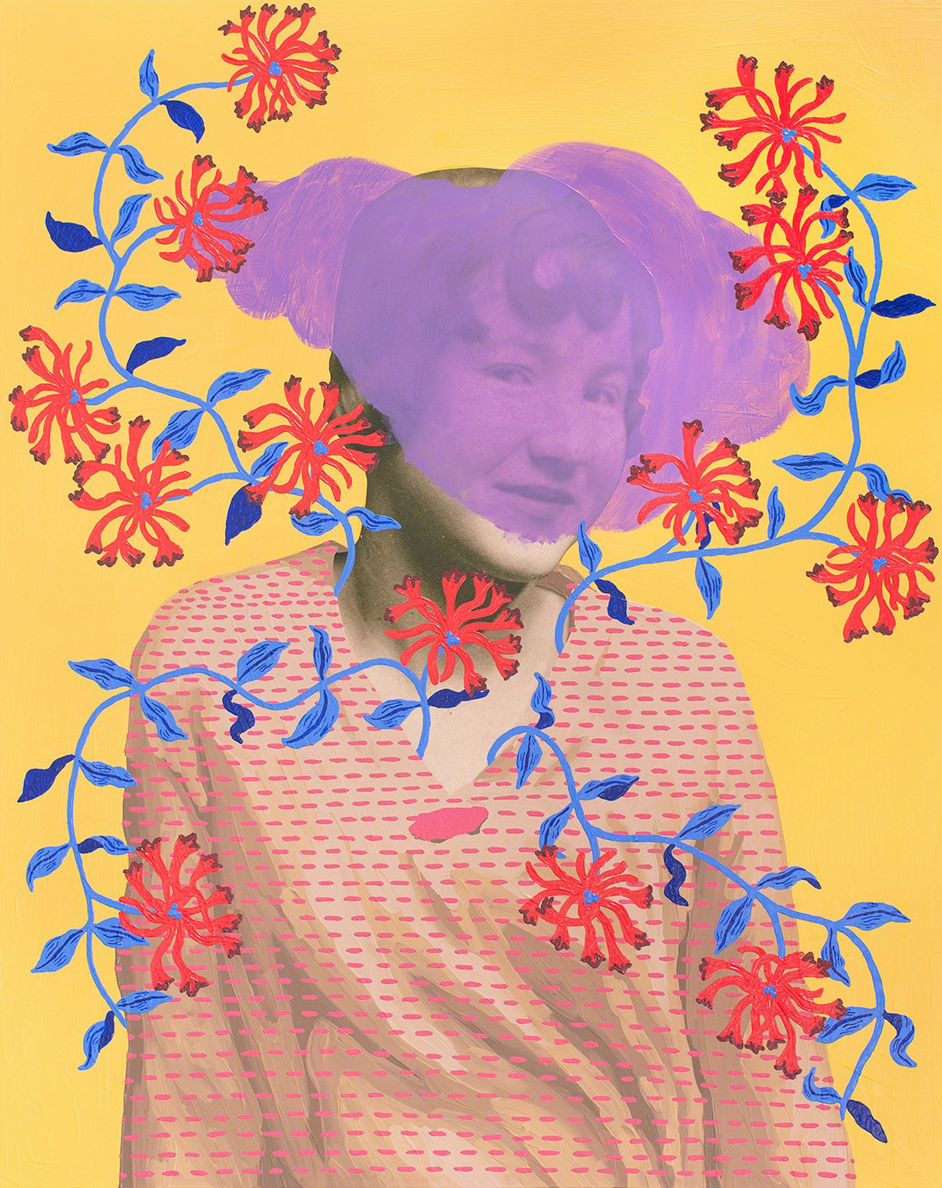 Untitled (Woman with Blue Vine and Puffed Flowers) by Daisy Patton