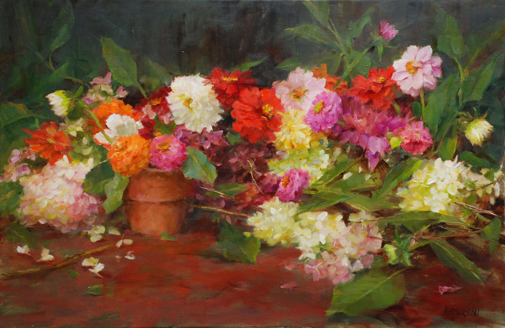 Hydrangeas with Zinnias and Dahlias by Kathy Anderson