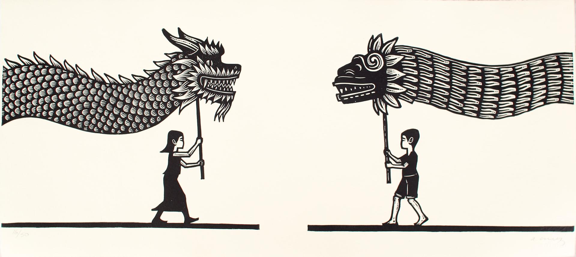 Niños con Dragon y Quetzalcoatl by Alberto Cruz