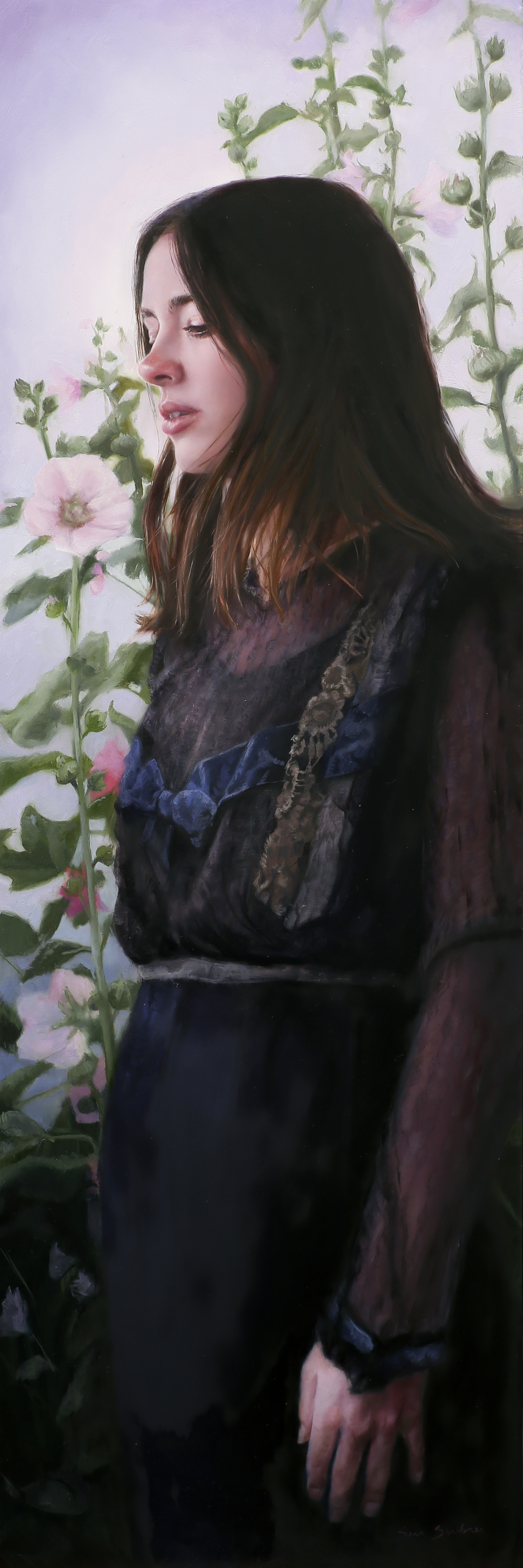 Evening Hollyhocks by Sara Scribner
