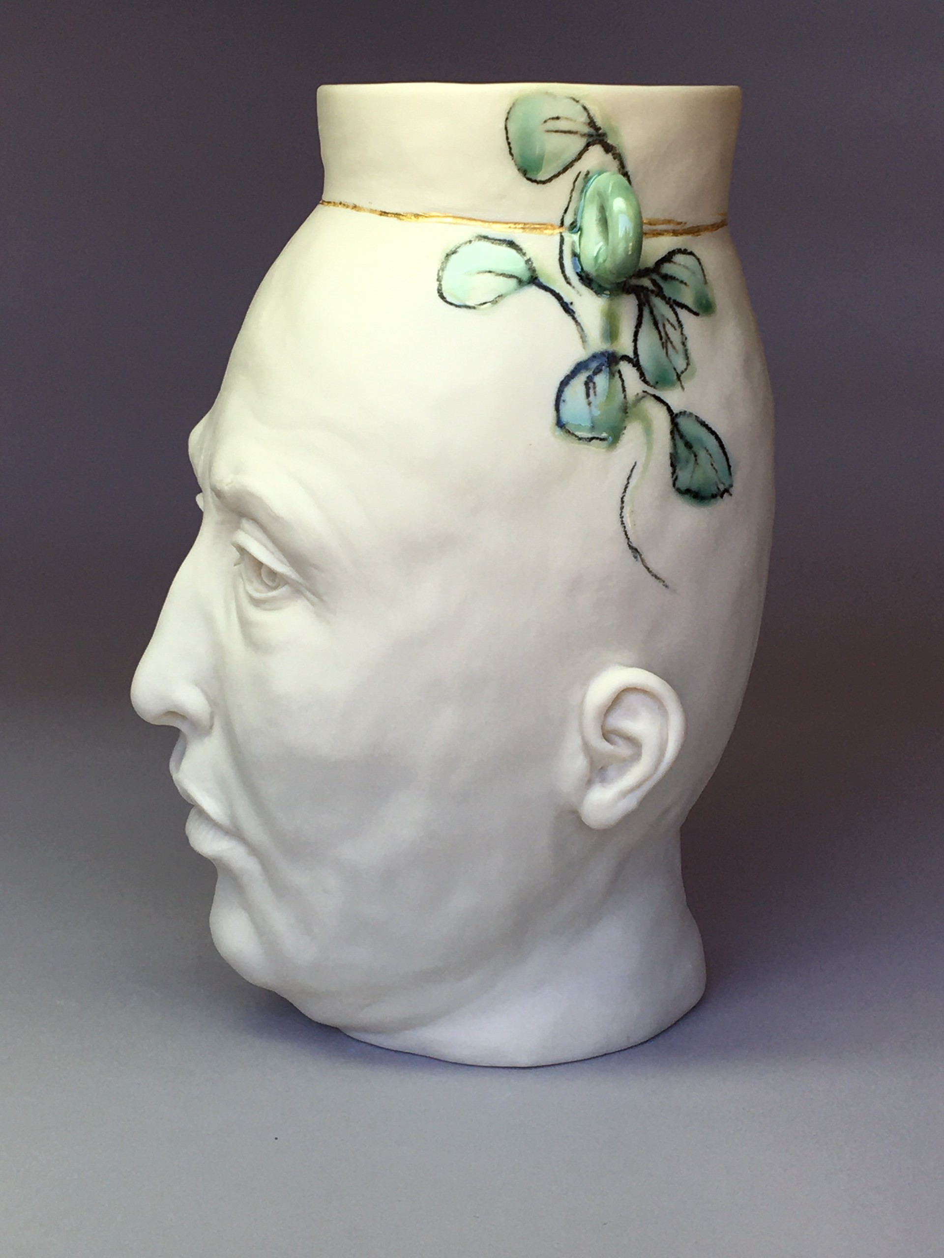 """""""Vase with Moth, Gold Lines"""" by Adrian Arleo"""