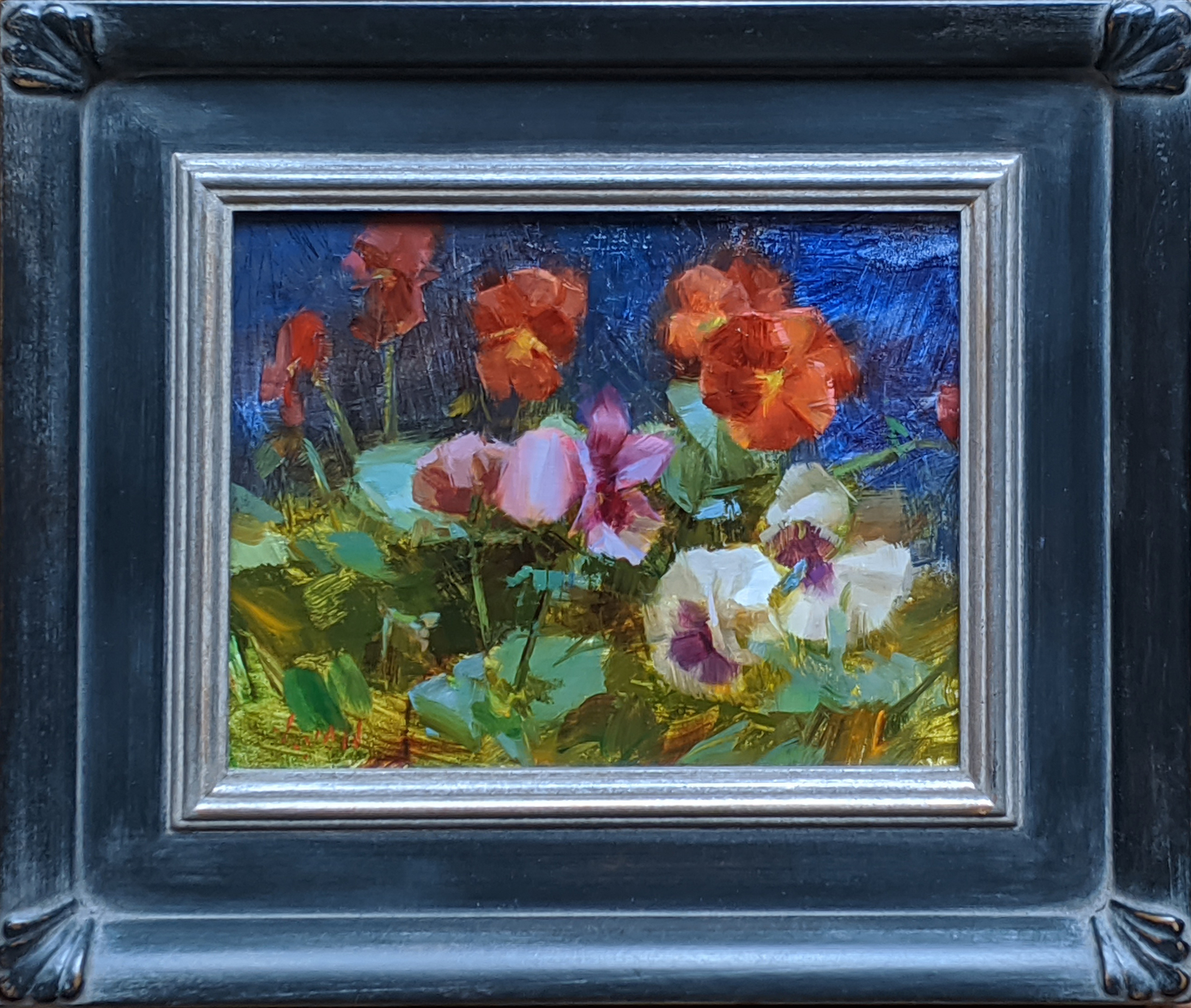 Pansies with Blue Background by Susan Lyon
