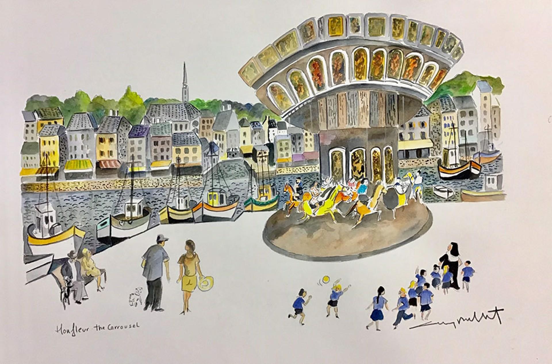 Honfleur; The Carosel by Guy Buffet