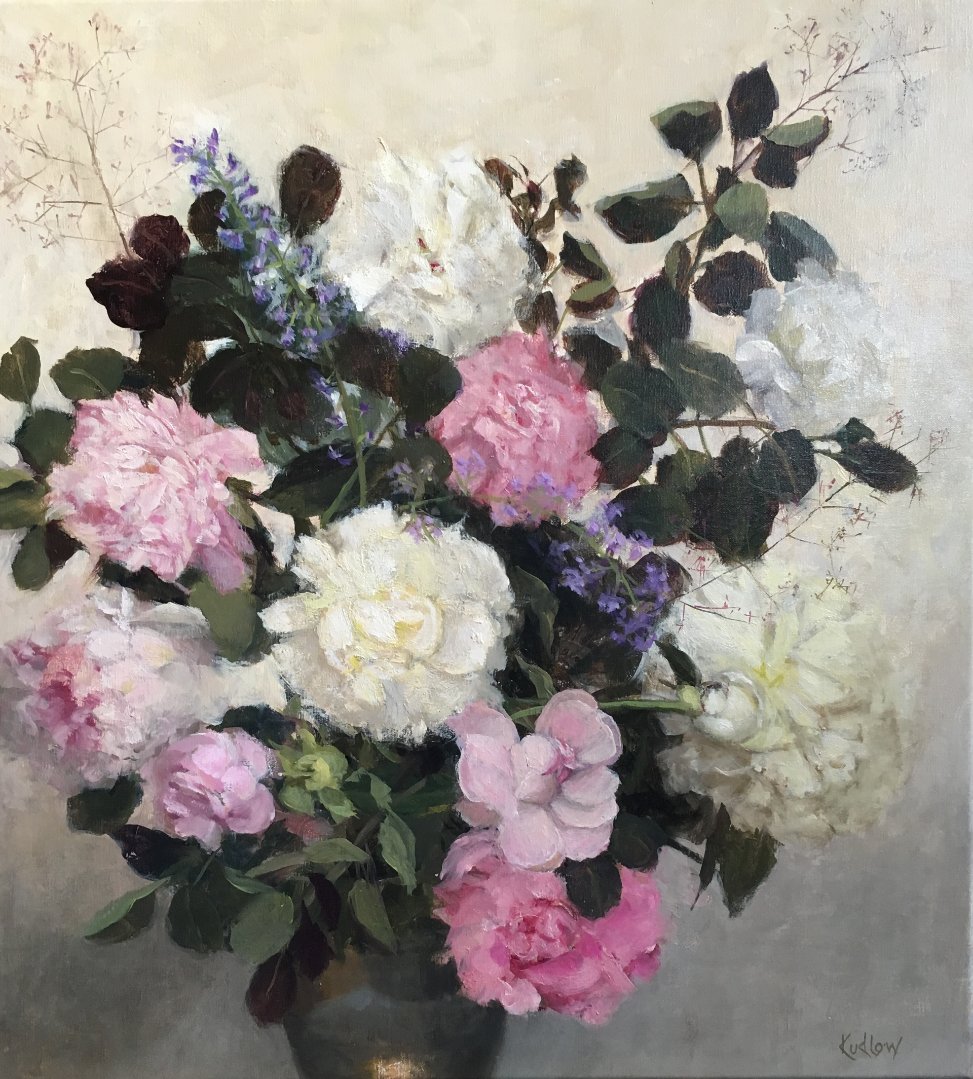 Peony and Roses by Judith Pond Kudlow