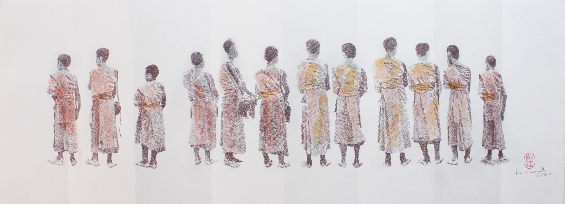 Alms Giving Procession: Print Series IIII by Tiao Nithakhong Somsanith