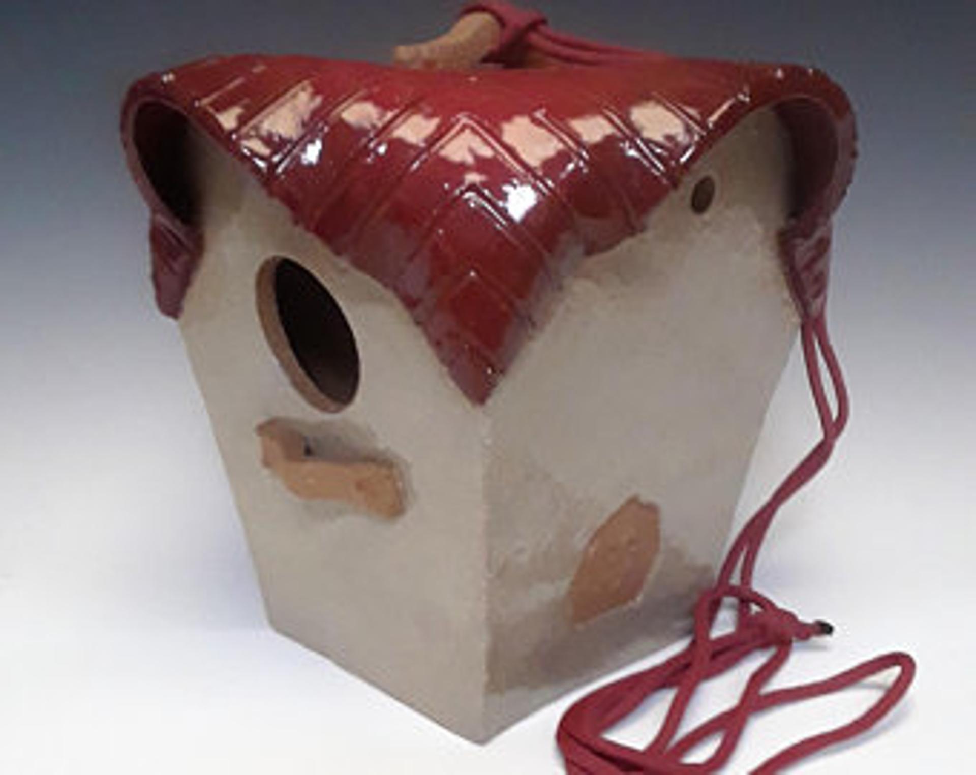 Finch Birdhouse, Frankly  Scarlet by Lin Barnhardt