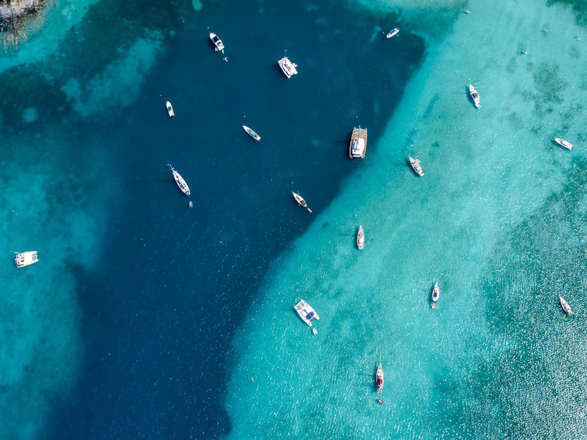Anchored,  Van Dyke, British Virgin Islands by Dinesh Boaz