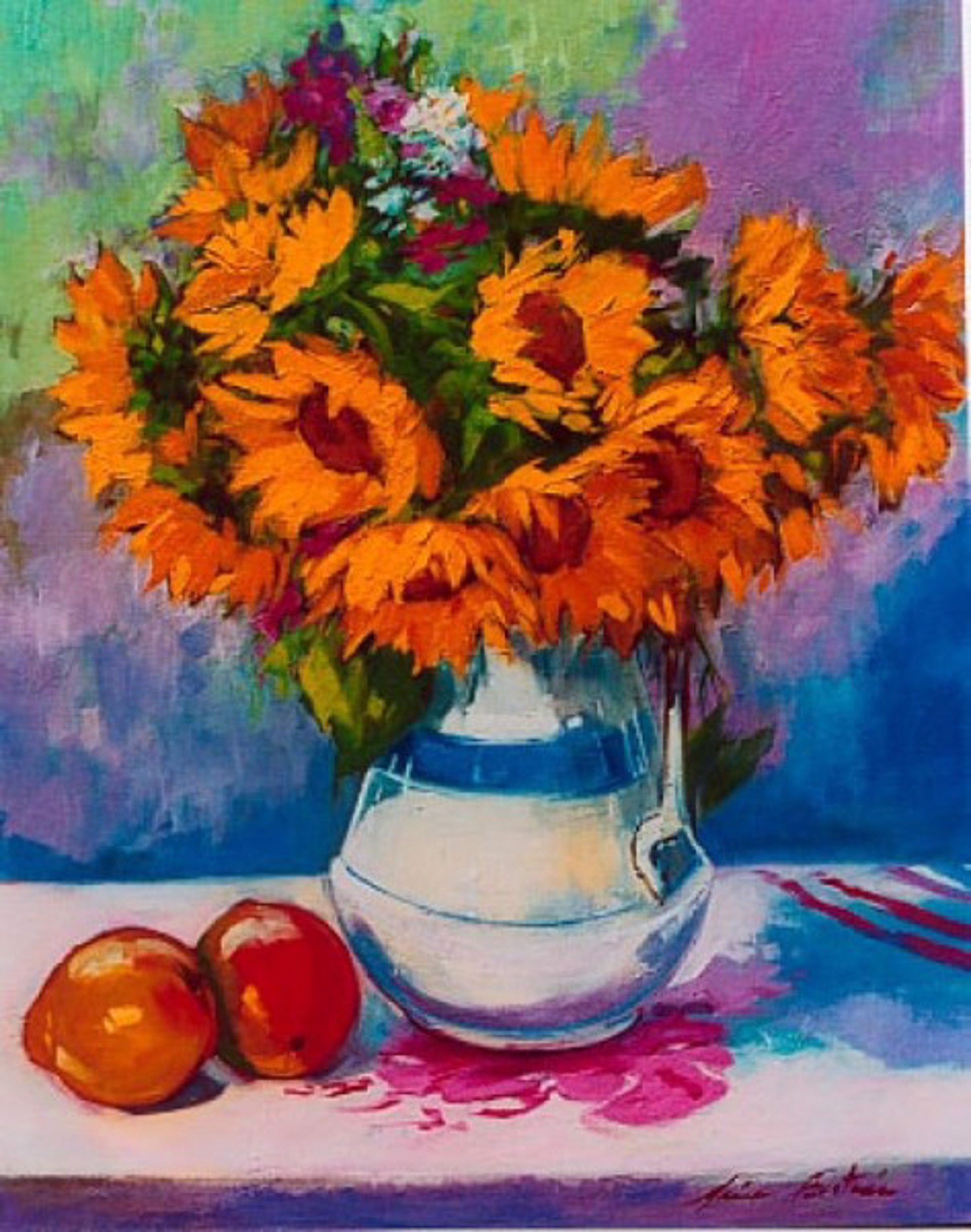 Sunflowers In White Vase by Maria Bertrán