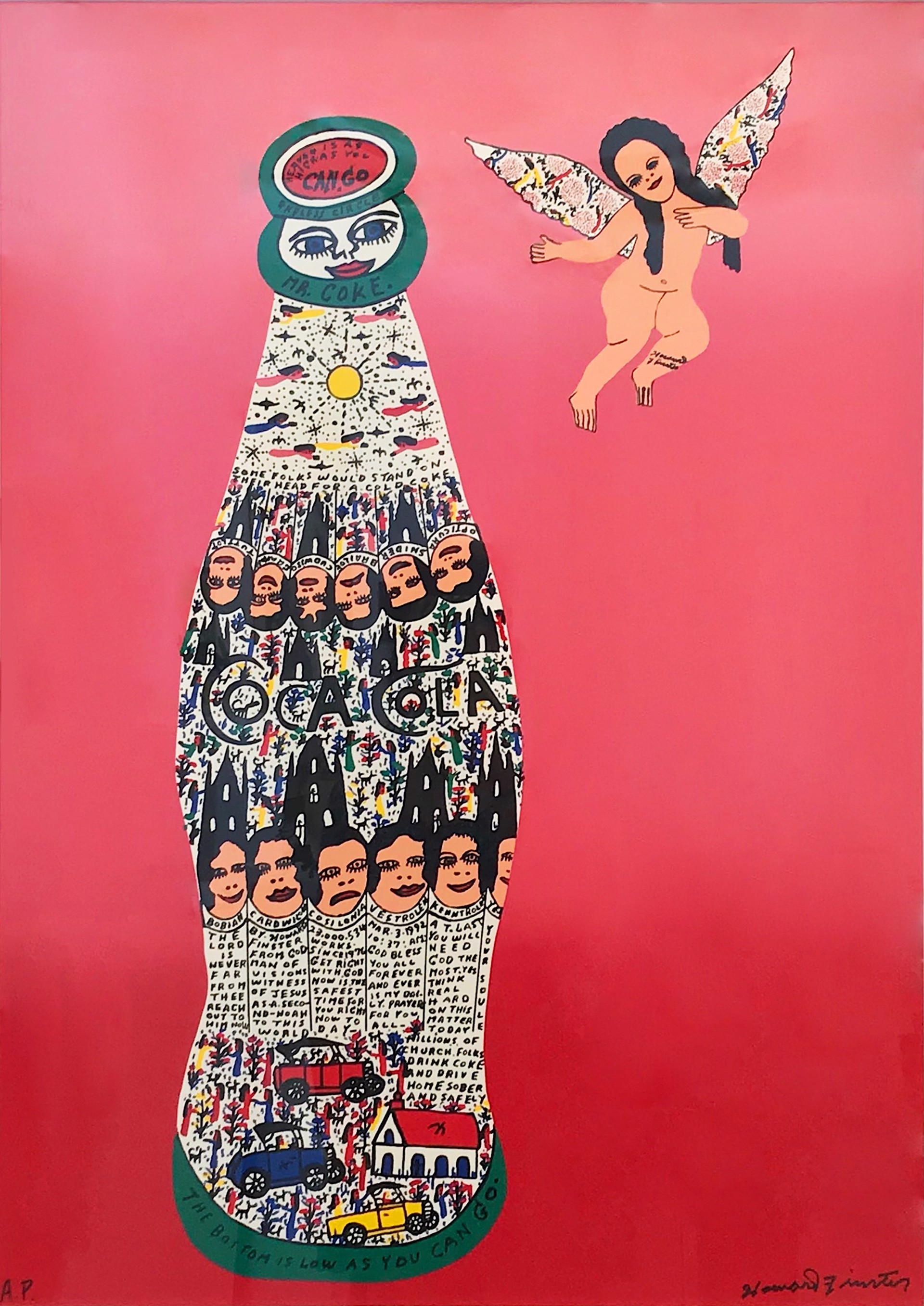 Angel Baby with Coca Cola by Howard Finster