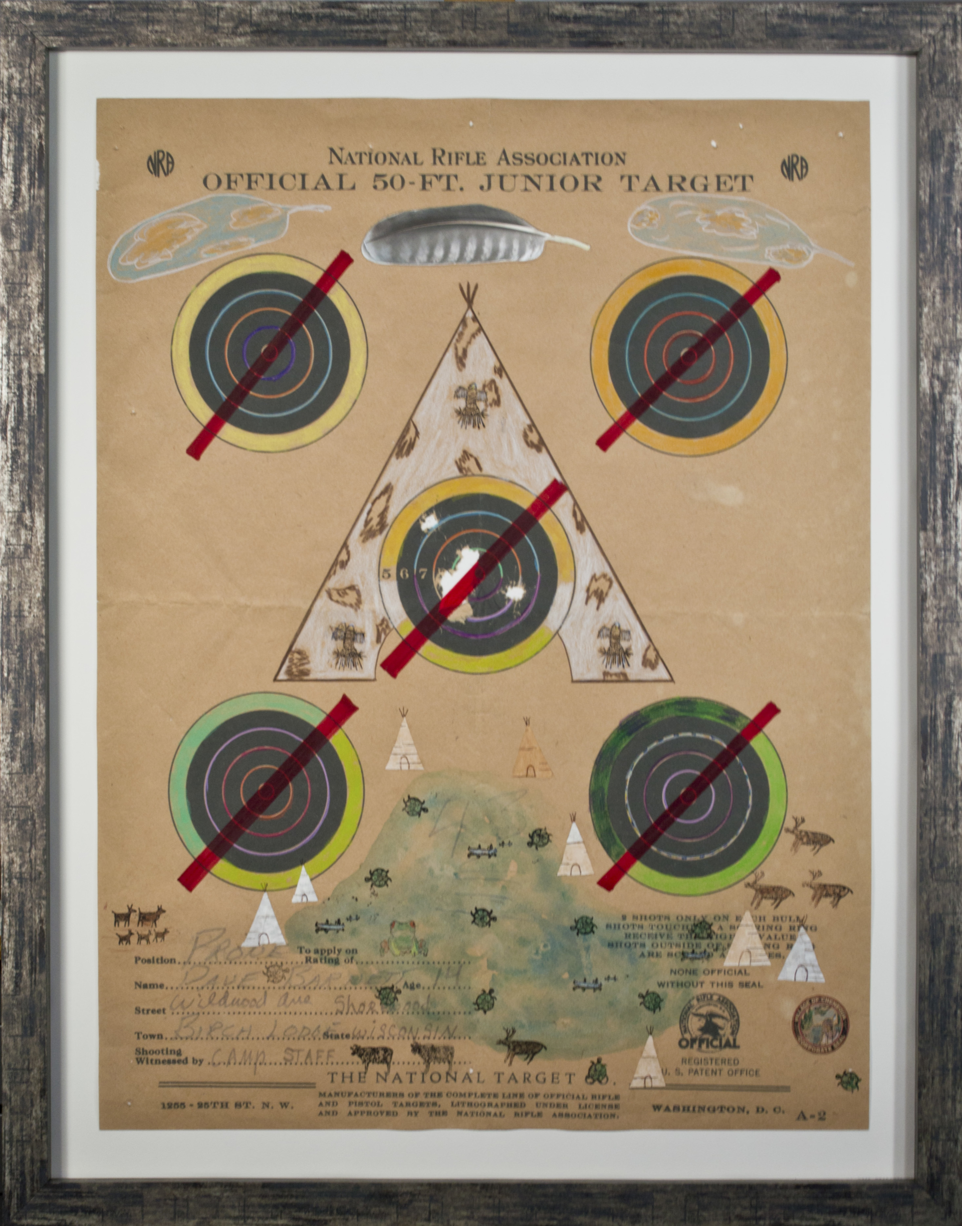 Target Series No. 11: No More Shootings, No More Guns Bald Eagle Spirit Tee Pee with Peregrine Falcon Feather Clouds and Turtle Lake Indian Compound by David Barnett