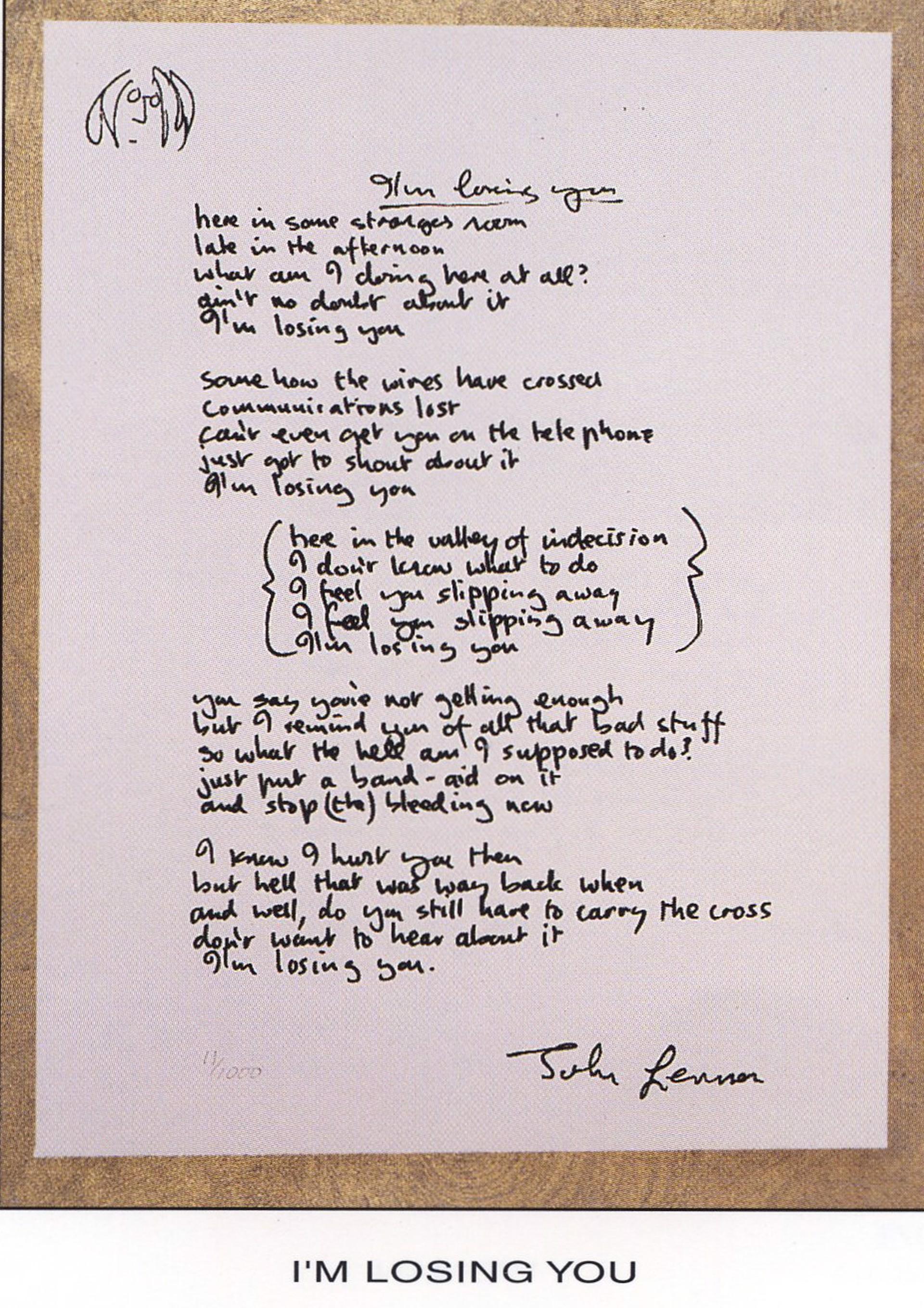 """""""I'm Losing You"""" Lyrics by John Lennon"""