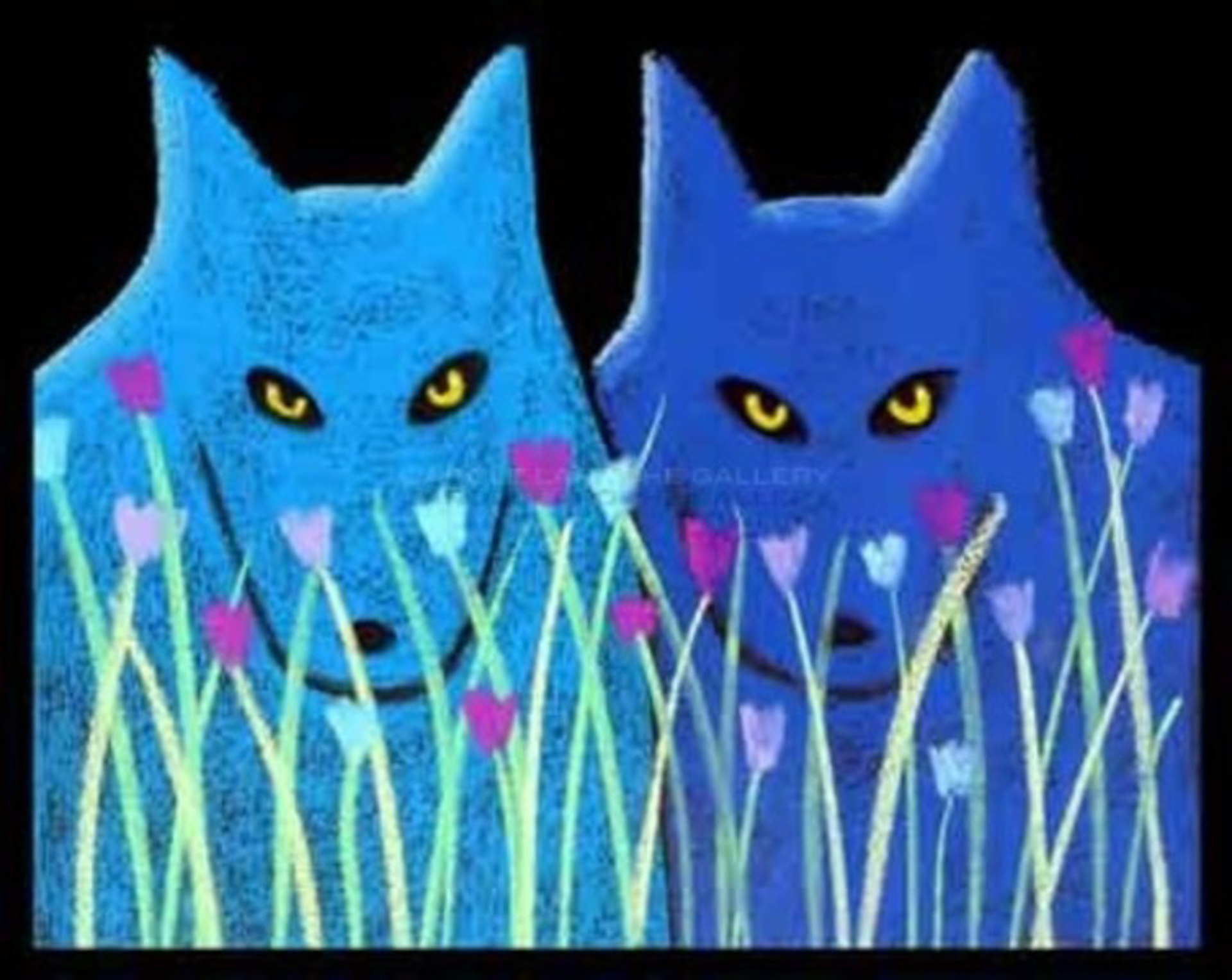 "TWO BLUE WOLVES WITH FLOWERS - limited edition giclee on paper w/frame size of 23""x27""  $1300 by Carole LaRoche"