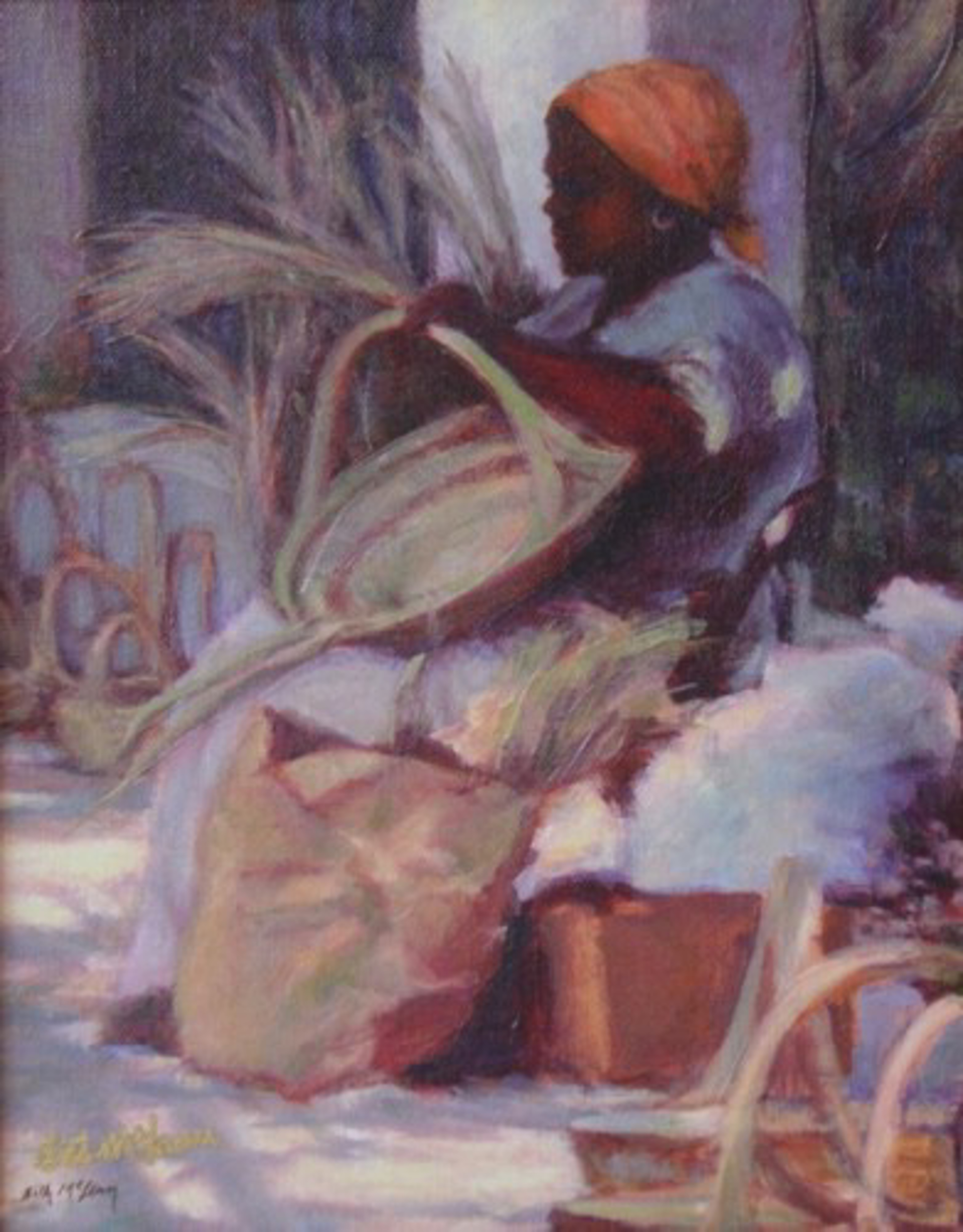 Basket Lady with Orange Kerchief by Beth McLean -- Giclee Prints