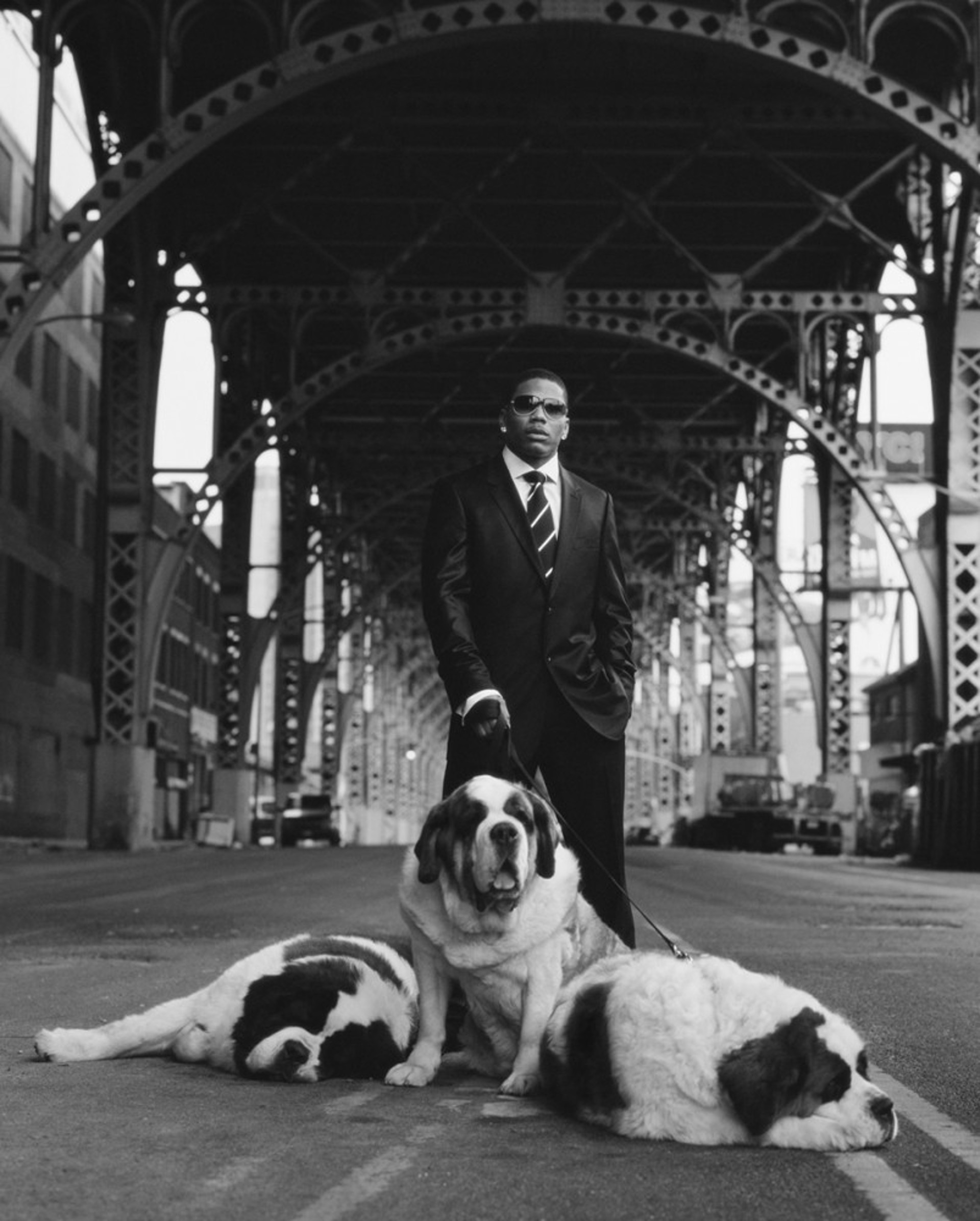 06025 Nelly With Dogs BW by Timothy White