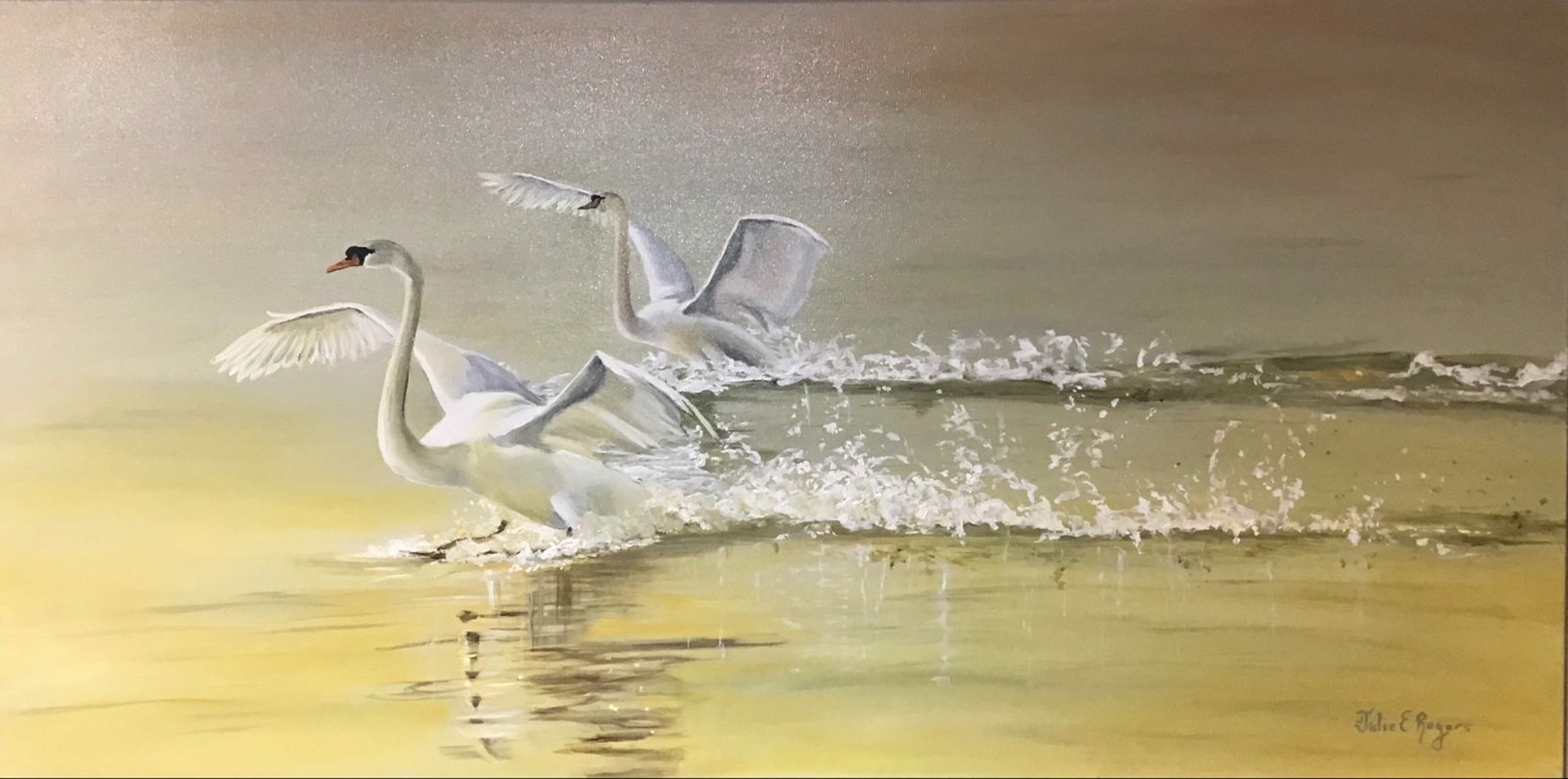 Sunset Swans by Julie Rogers