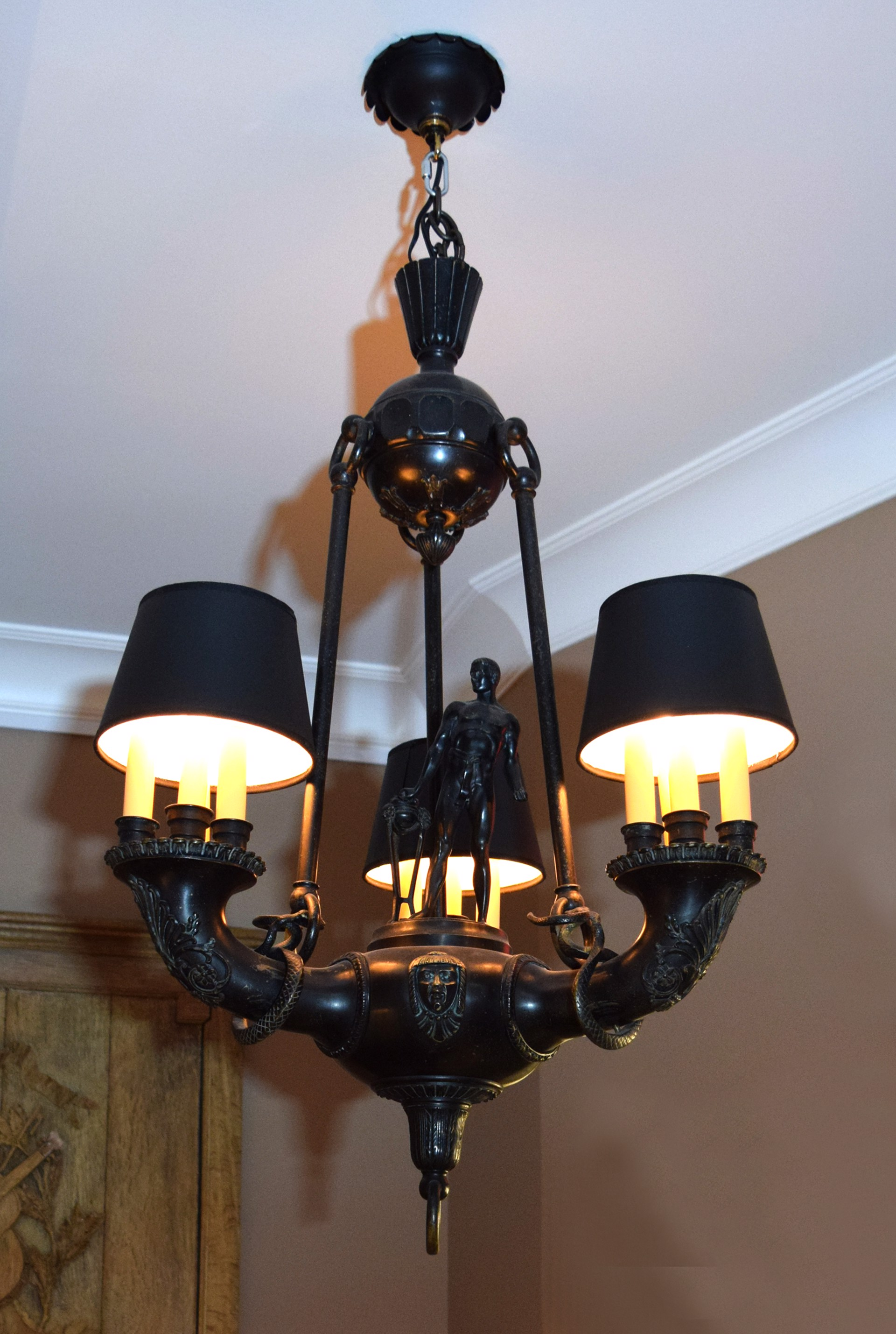 GERMAN PATINATED BRONZE CHANDELIER BY OTTO SCHMIDT-HOFER  by Otto Schmidt-Hofer