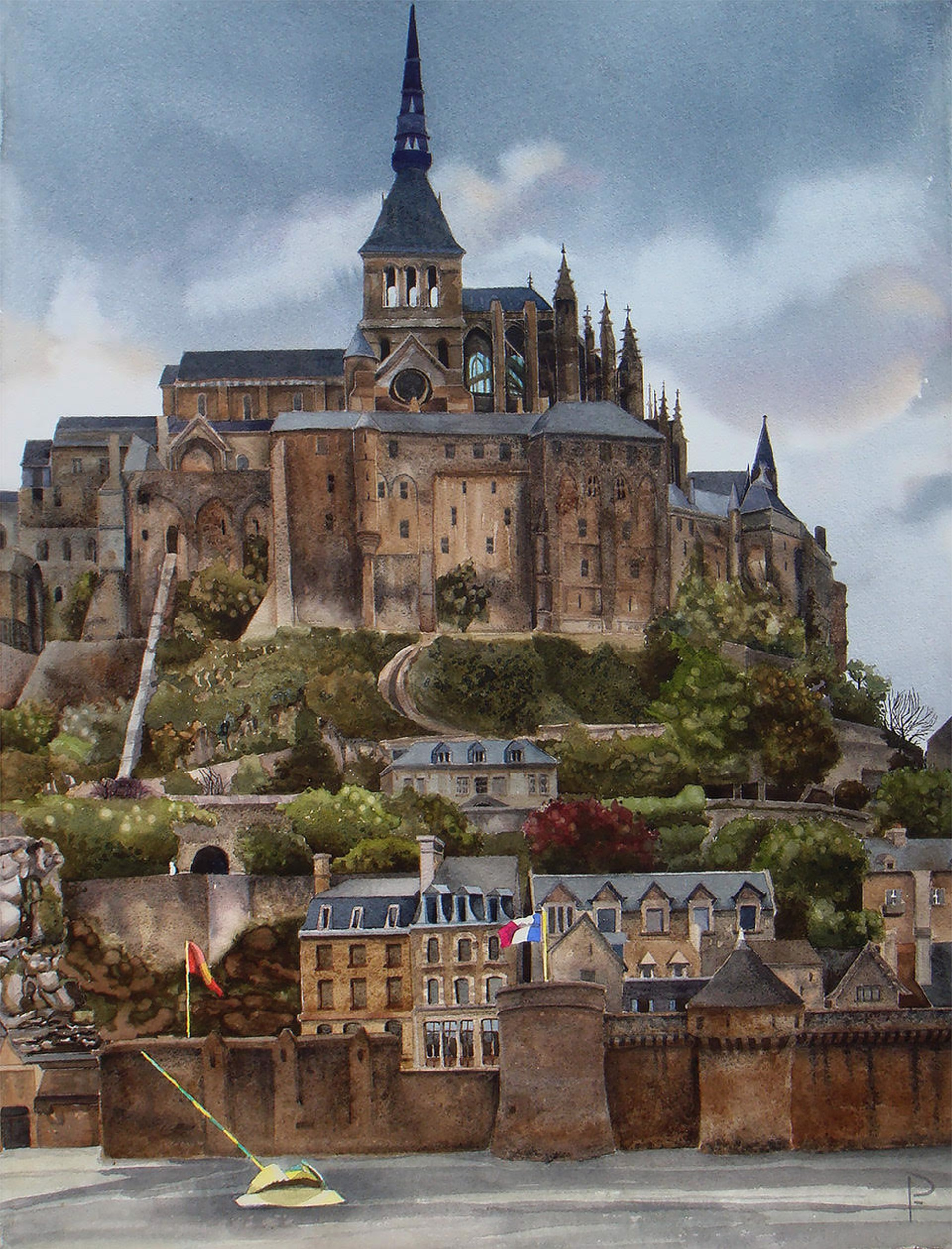 Low Tide Mont St. Michel by Paula Fiebich