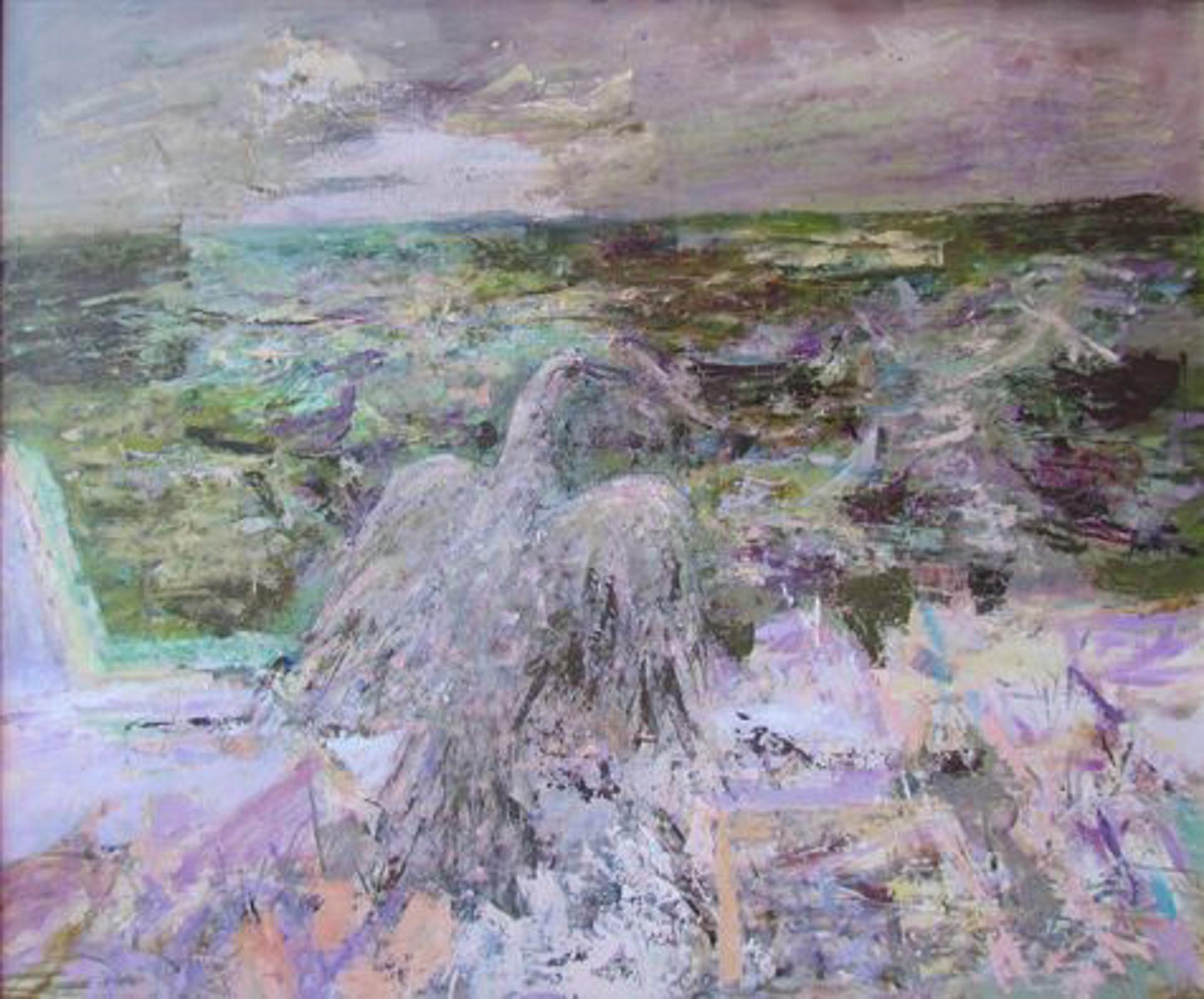 Untilted (shoreline with bird) by Bill Reily
