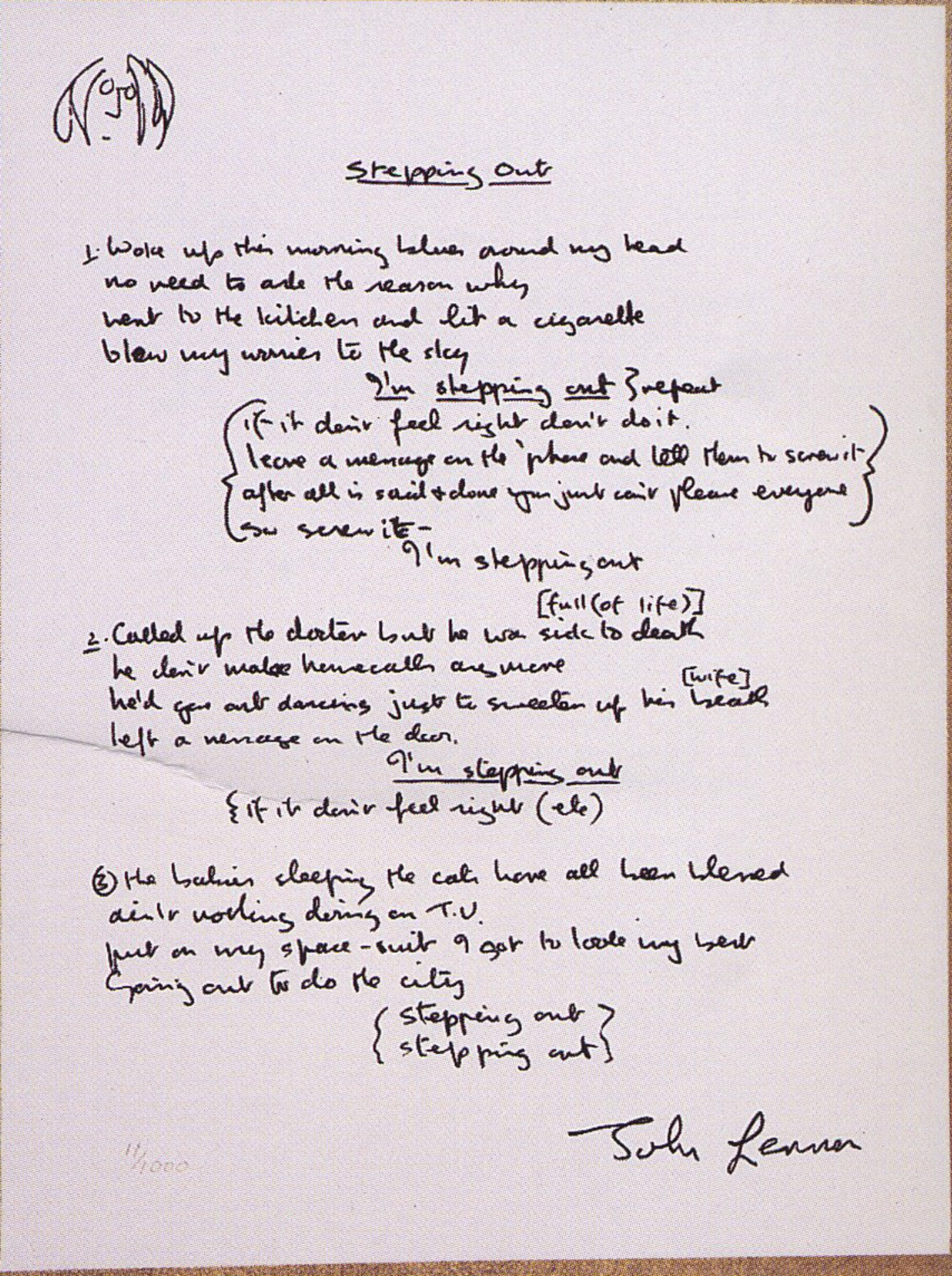"""Stepping Out"" Lyrics by John Lennon"