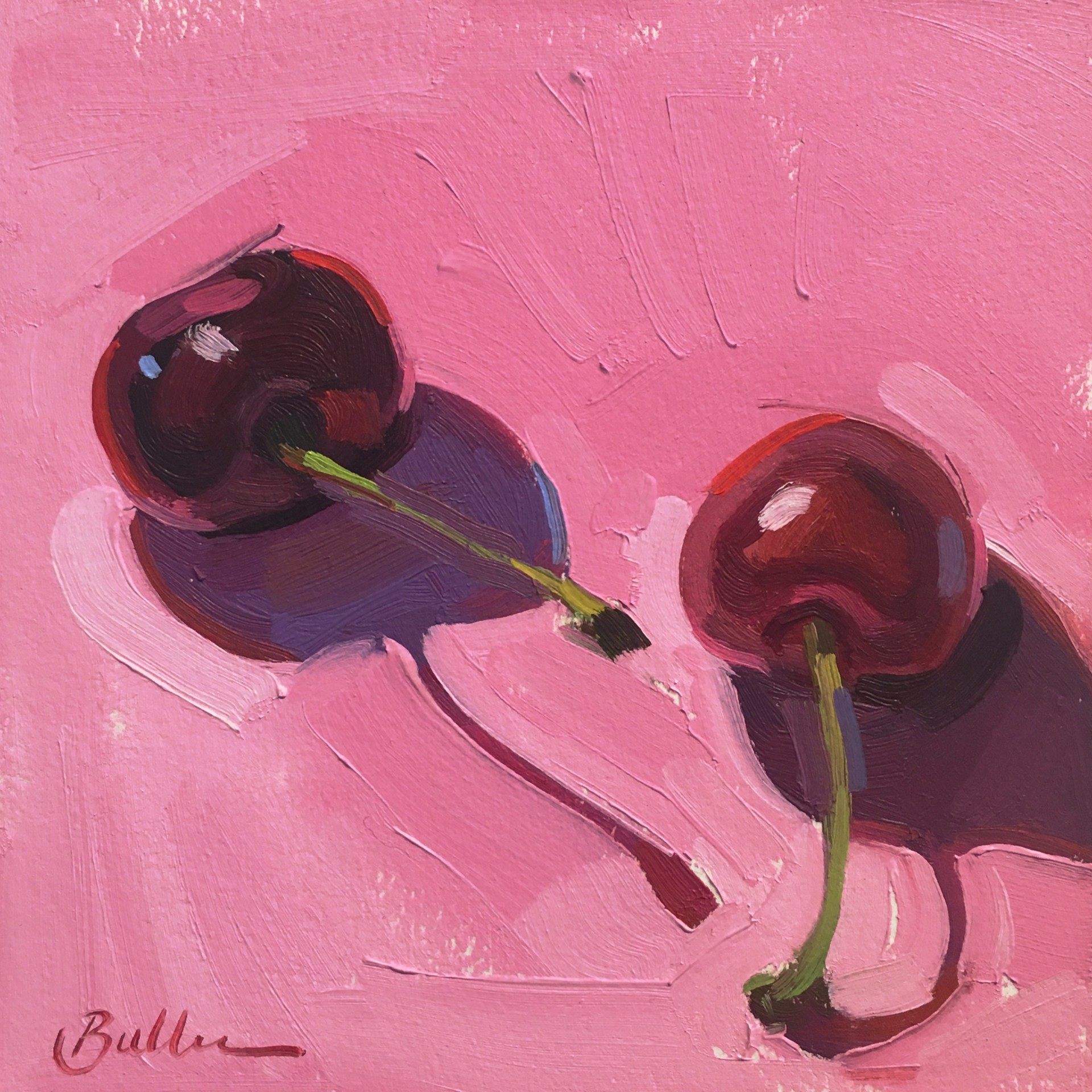 Two Cherries on Pink by Samantha Buller