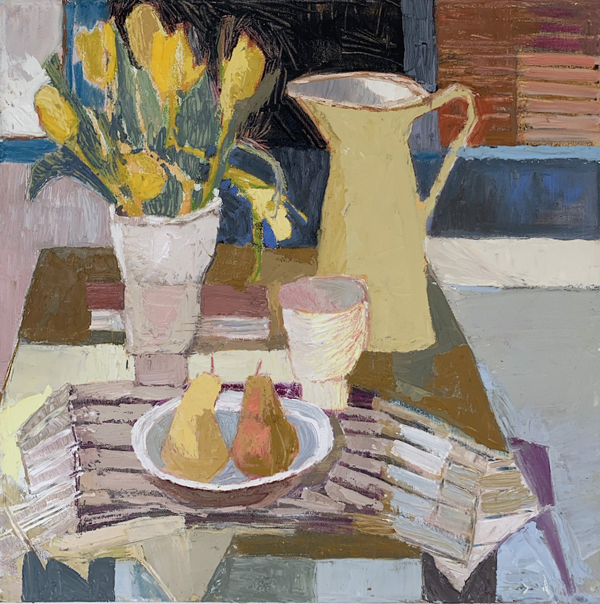 Tulips and Yellow Pitcher  by Maggie Shepherd