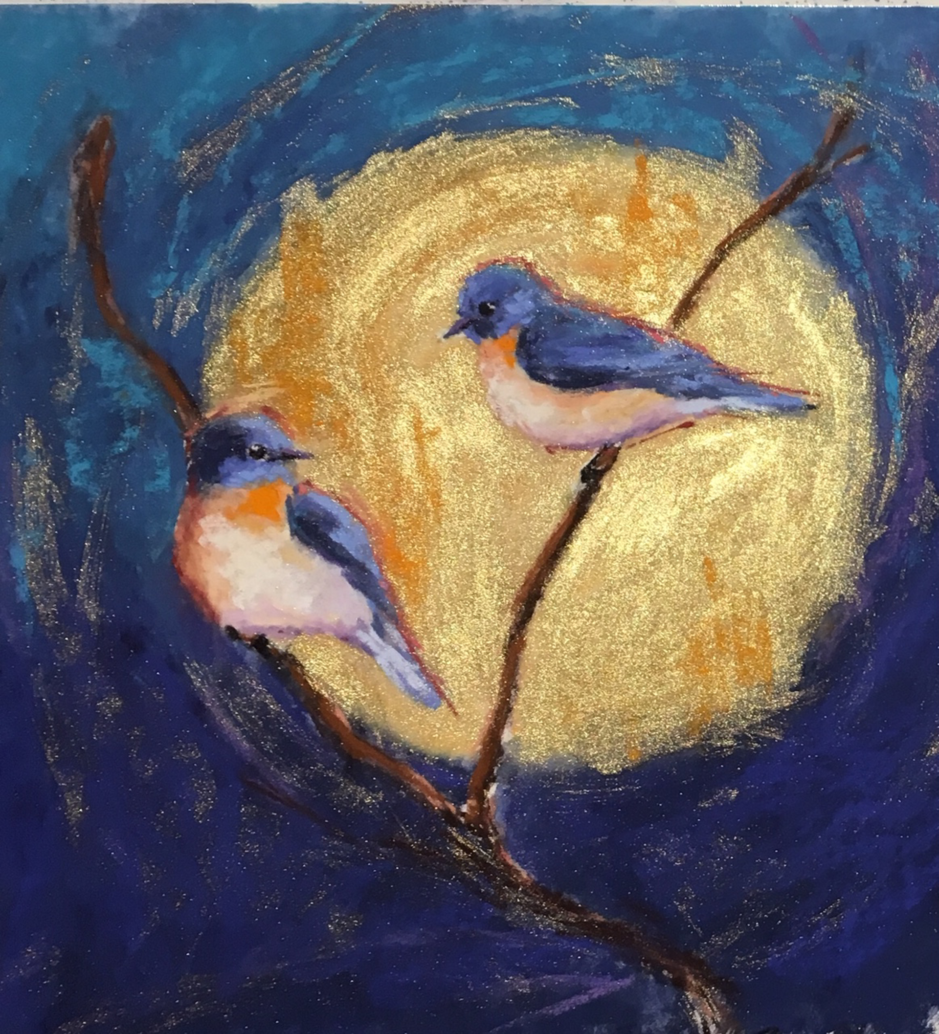 Bluebirds and Gold II by Cecilia Murray