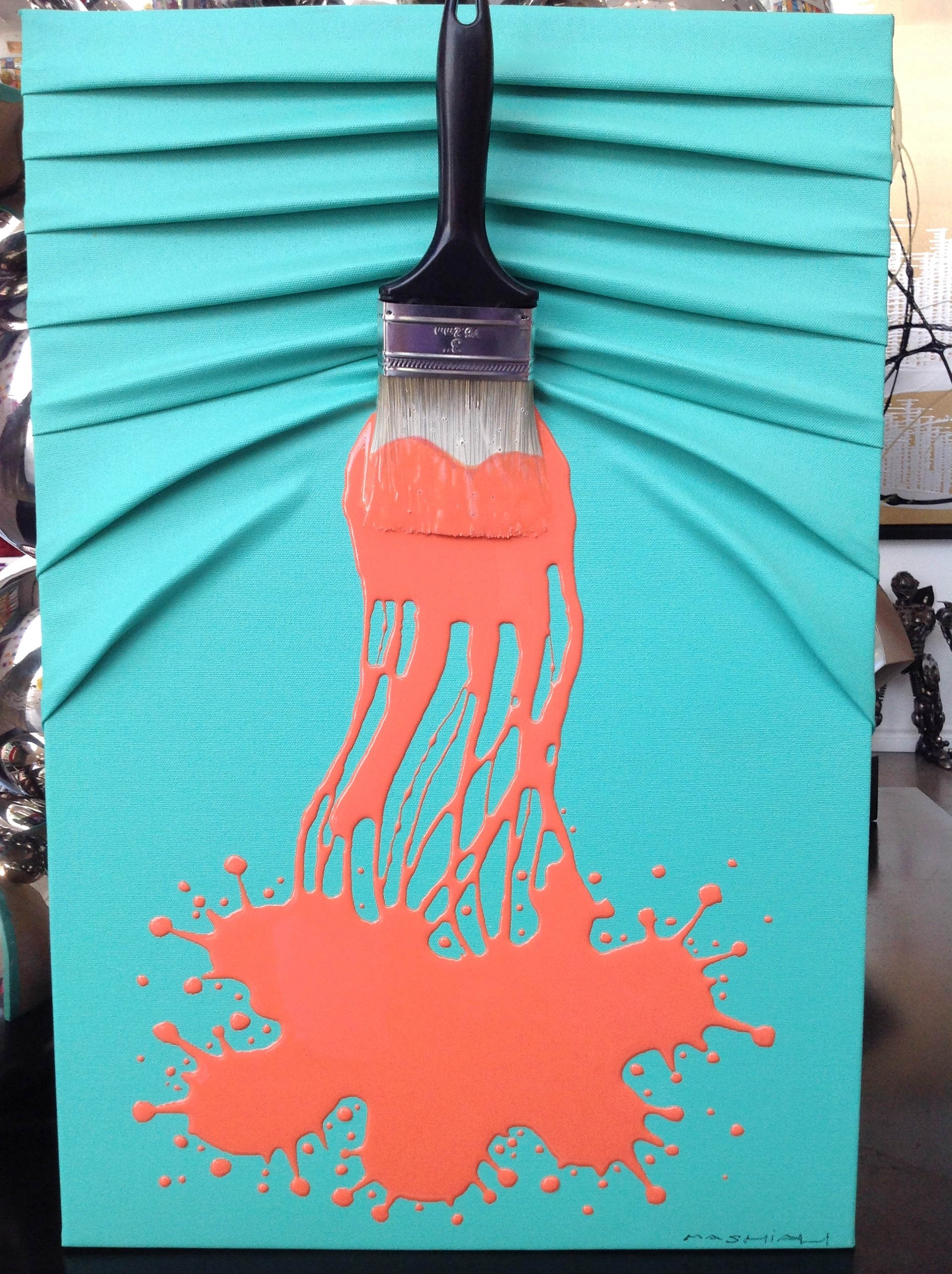 """""""Lets Paint"""" Small Orange on Teal by Efi Mashiah"""