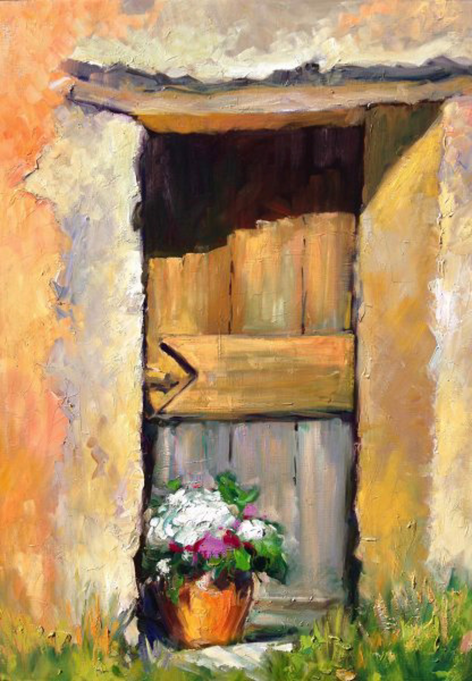 Wooden Door In The Textured Wall by Maria Bertrán