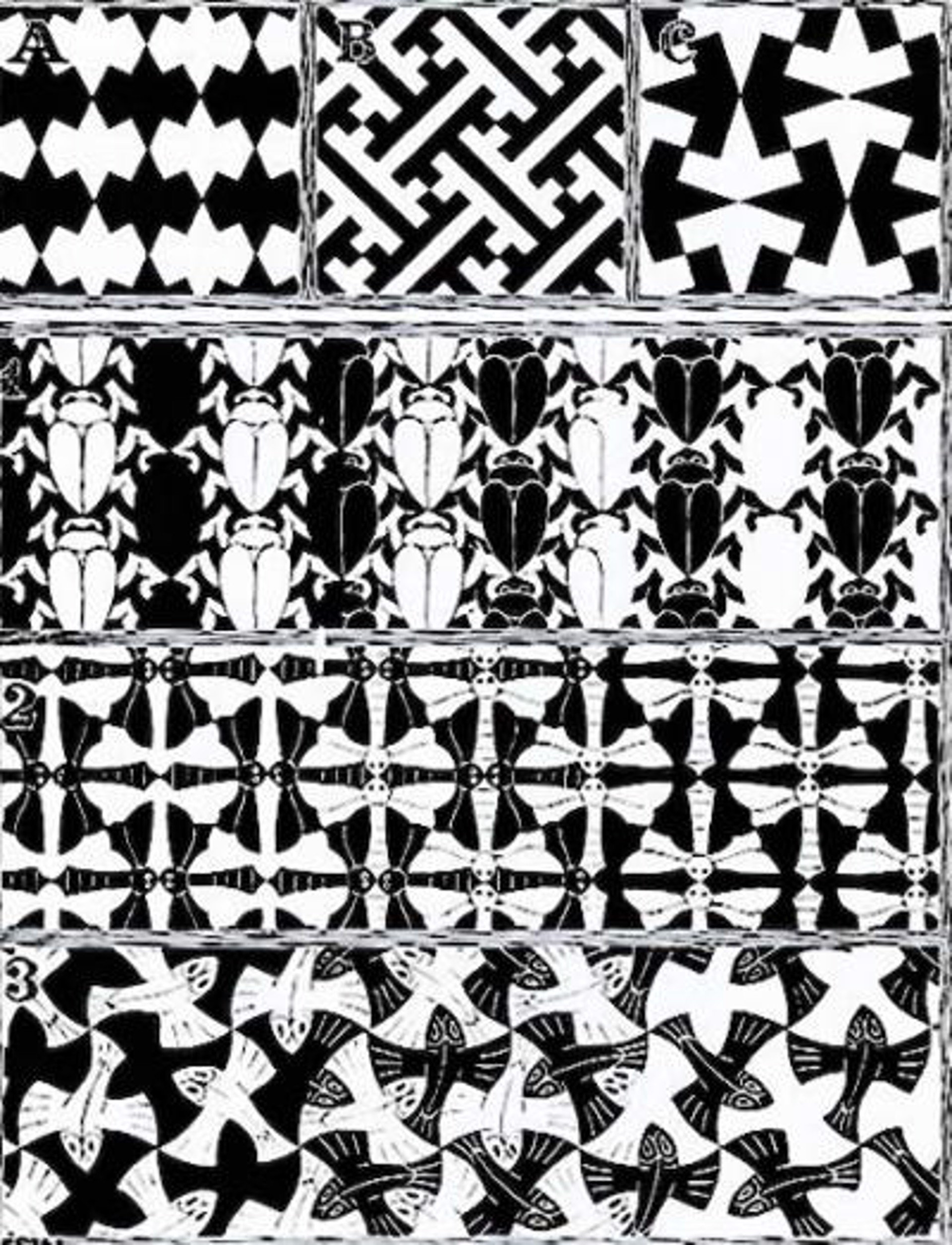 Regular Division of the Plane II by M.C. Escher