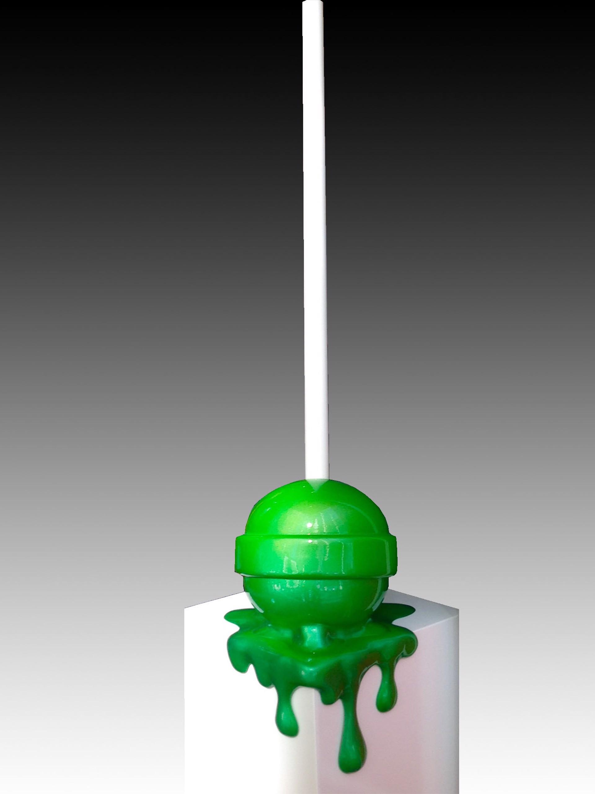 Green Ombre Corner Drip Lollipop by Elena Bulatova