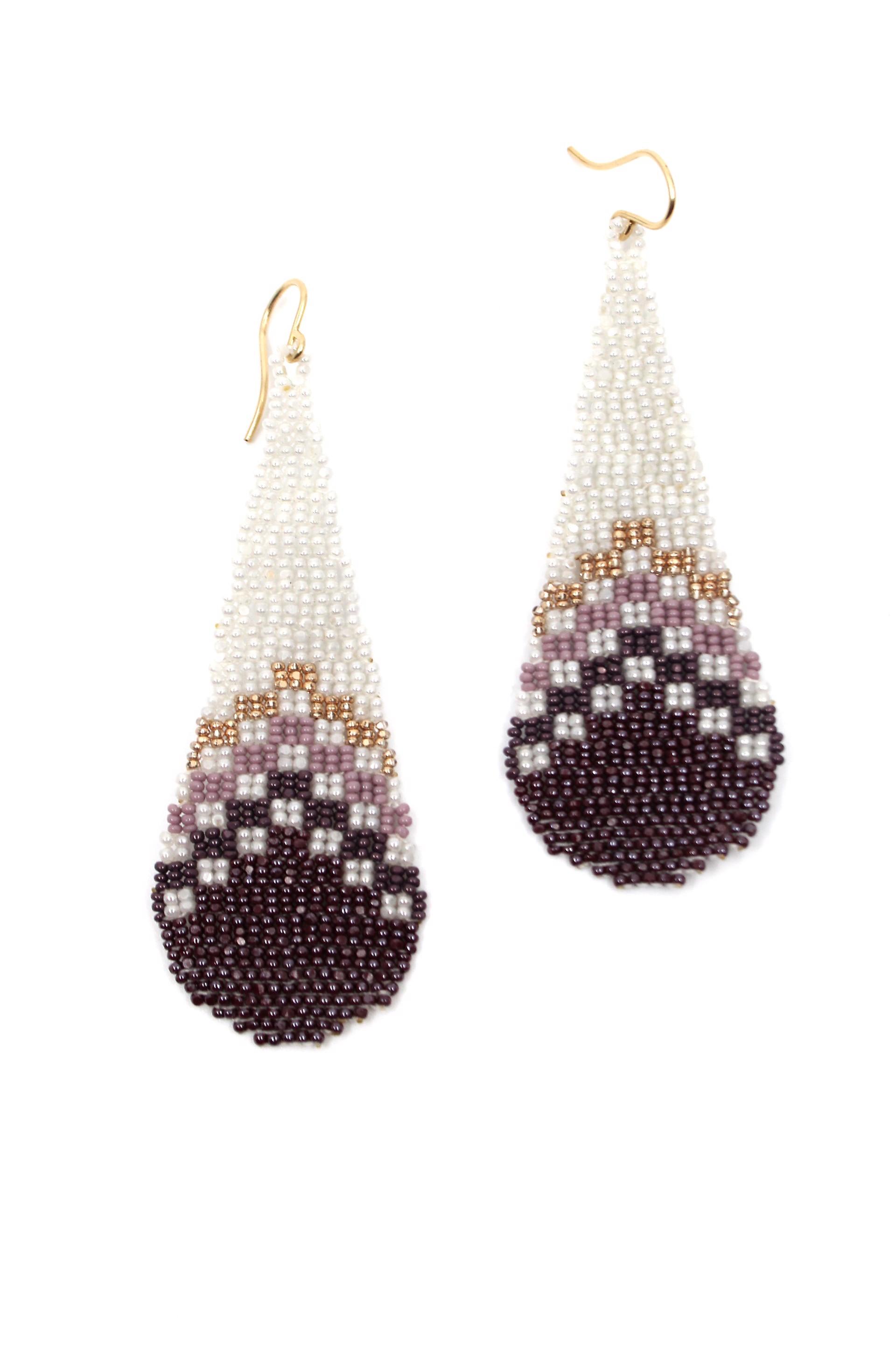 Pearl and Purple Tear Drop Earrings by Mikayla Patton