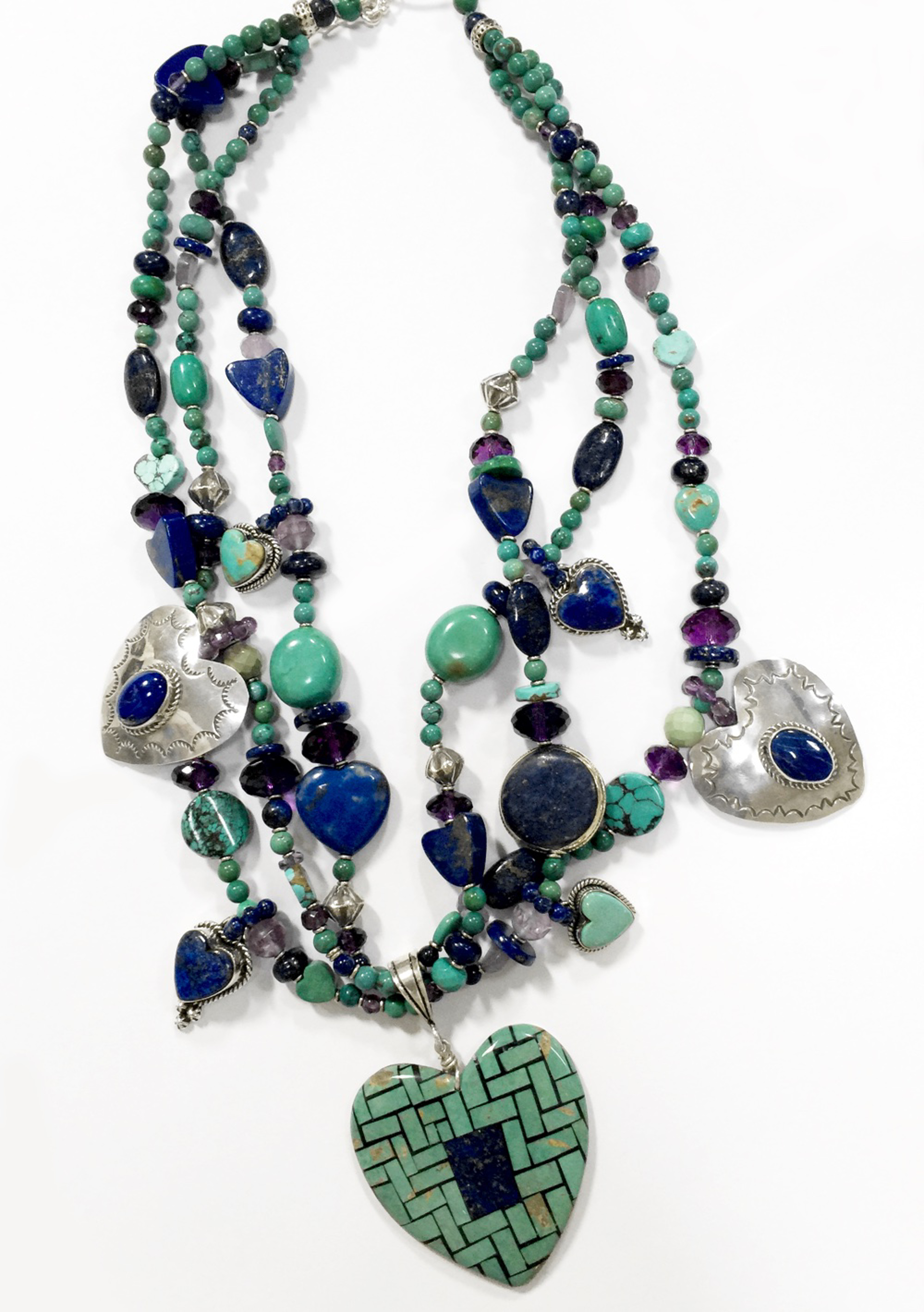 KY 1330- Three Strand necklace w lapis, turquoise and sterling by Kim Yubeta