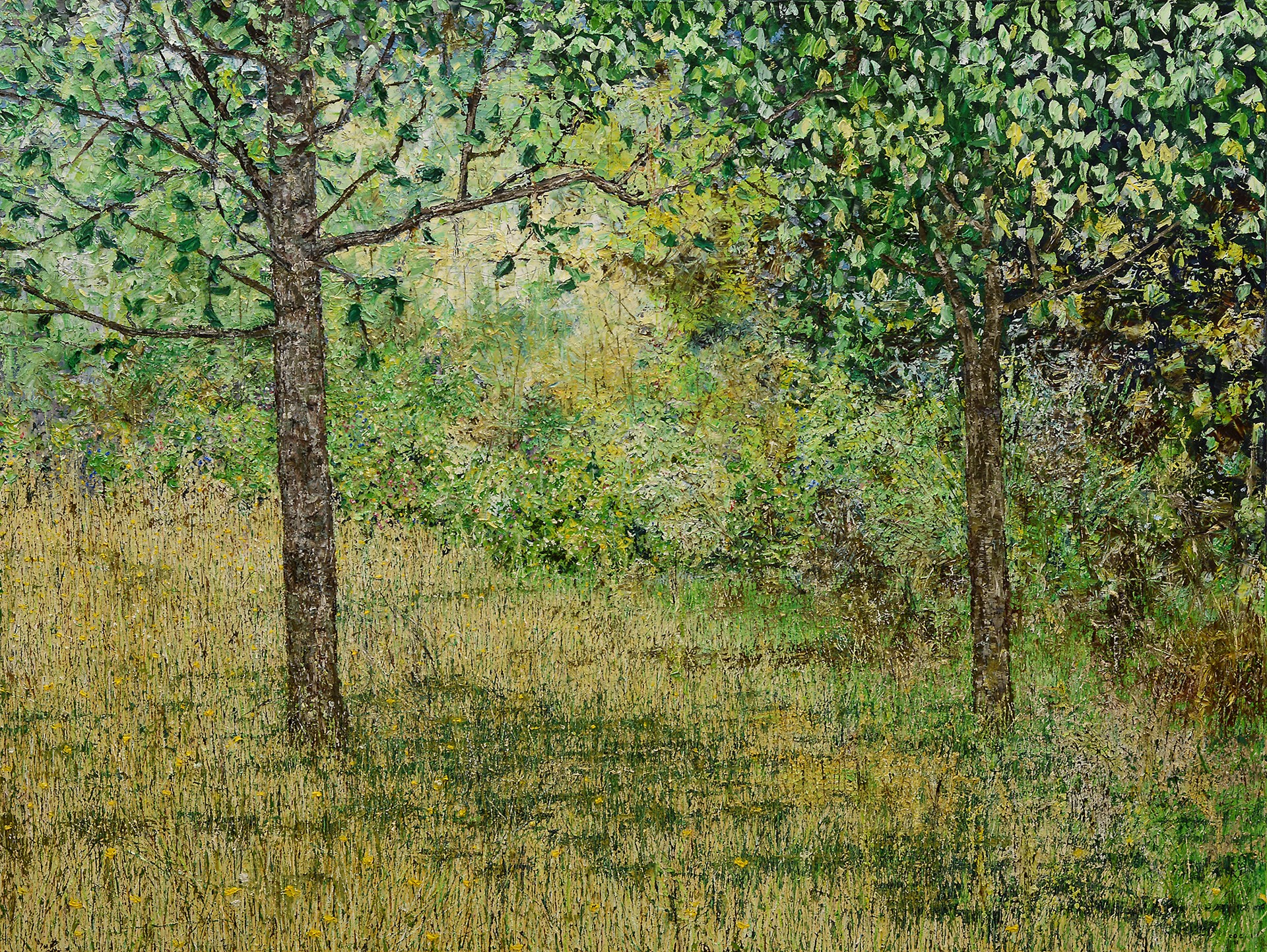 Two Trees by a Garden by Chris Charlebois