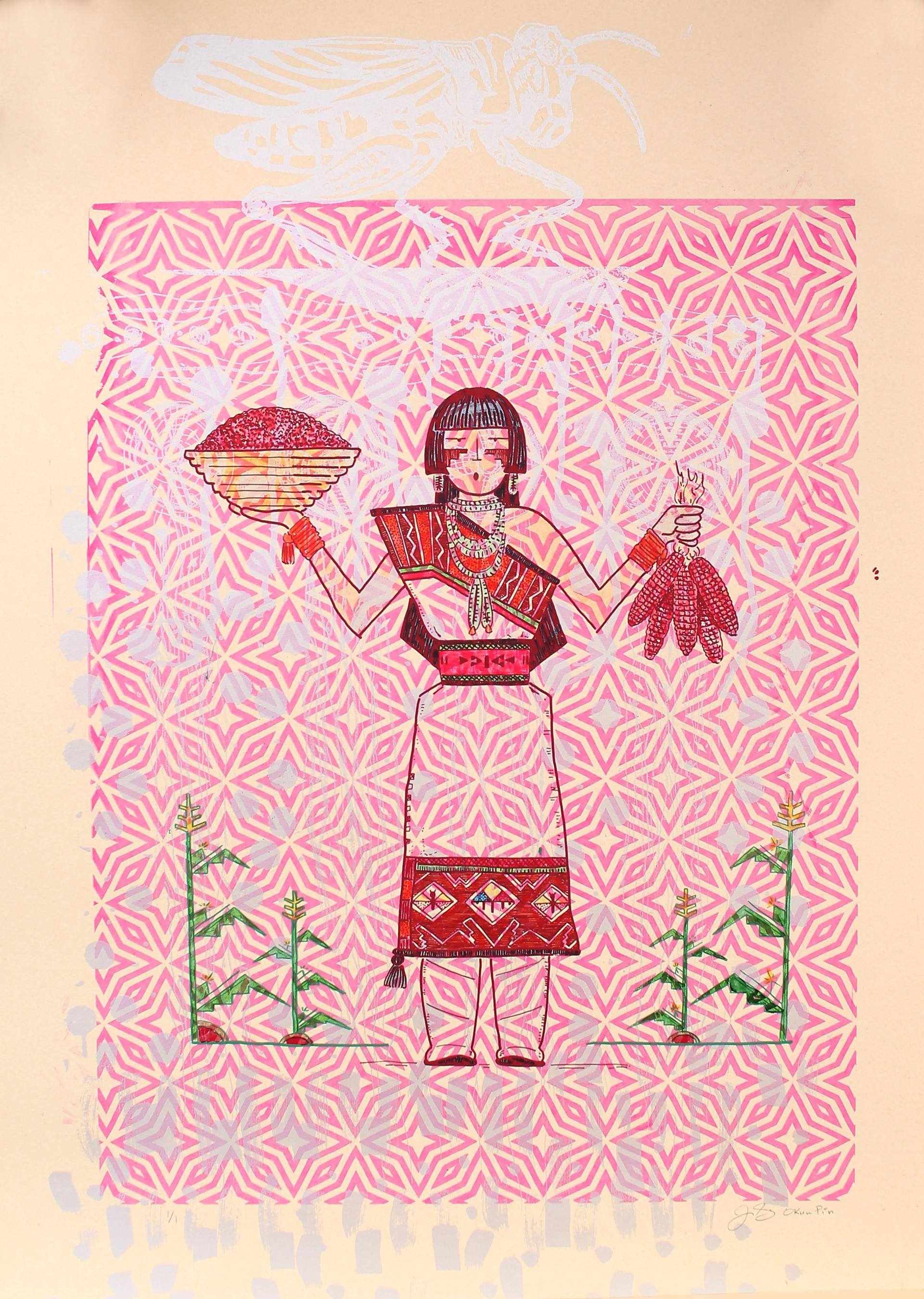 Red Corn Maiden (Framed) by Jason Garcia